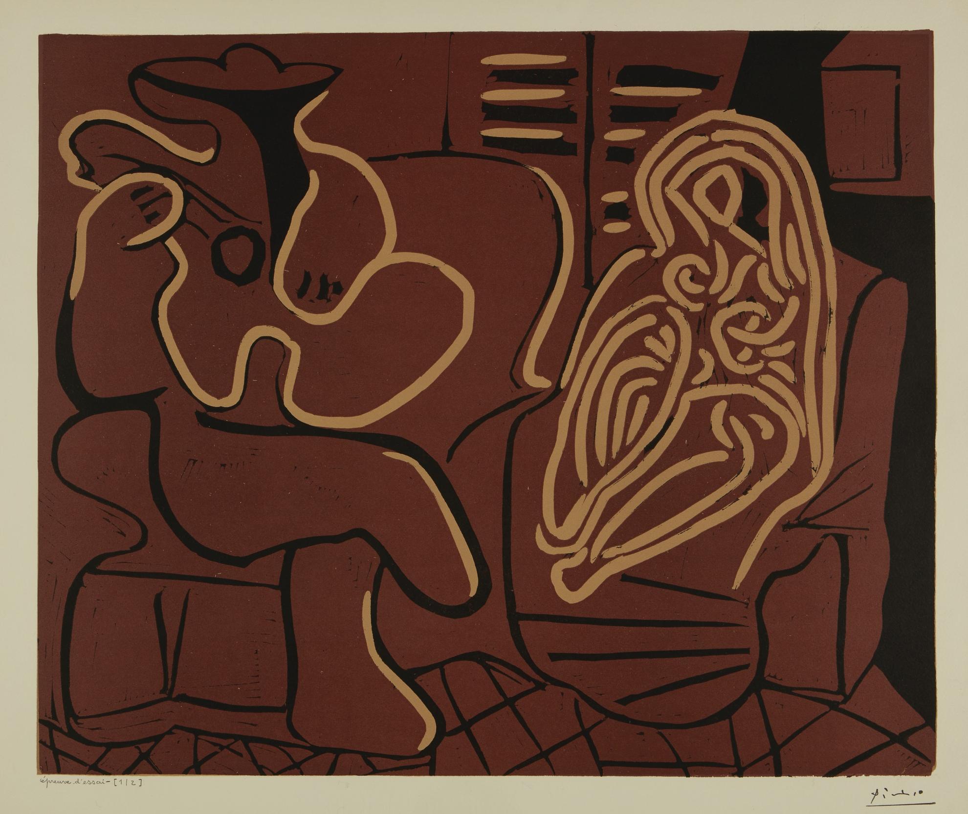 Pablo Picasso-Laubade, Avec Femme Dans Un Fauteuil (Femme Dans Un Fauteuil Et Guitariste): Two Prints (B. 917; Ba. 1232)-1959