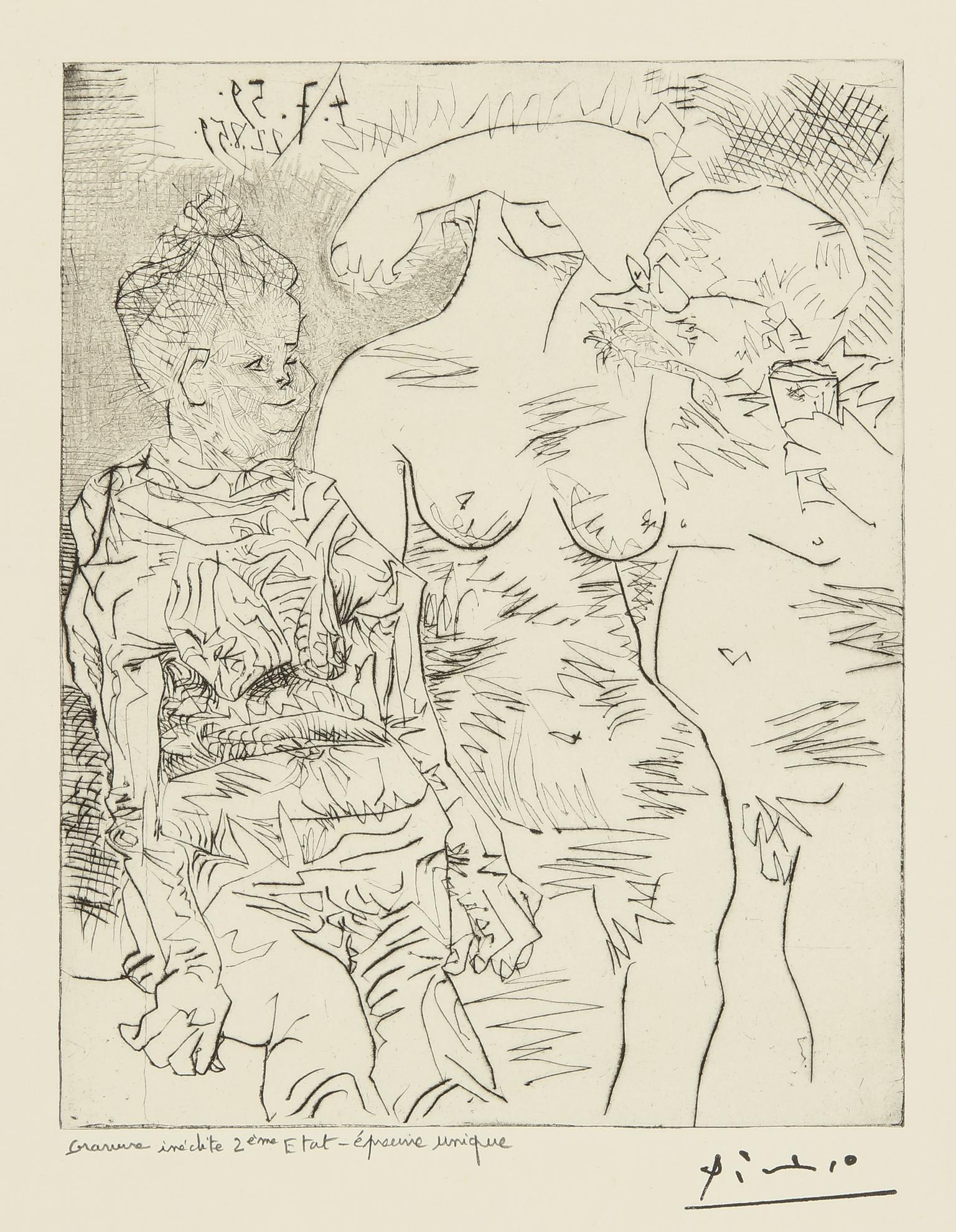 Pablo Picasso-Sabartes Avec Deux Femmes: Eight States (Ba. 1060)-1960