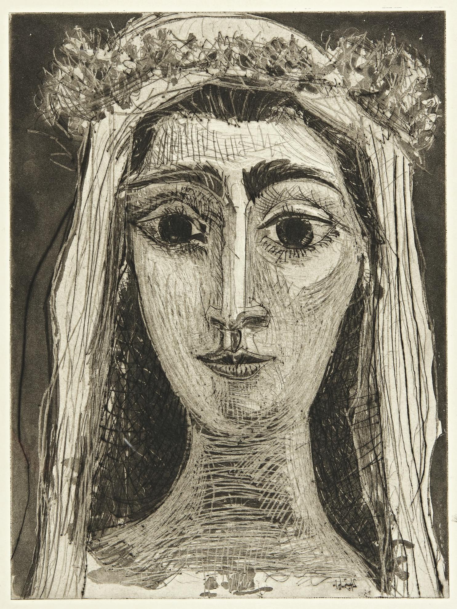 Pablo Picasso-Jacqueline En Mariee, De Face. I (Ba. 1089)-1961