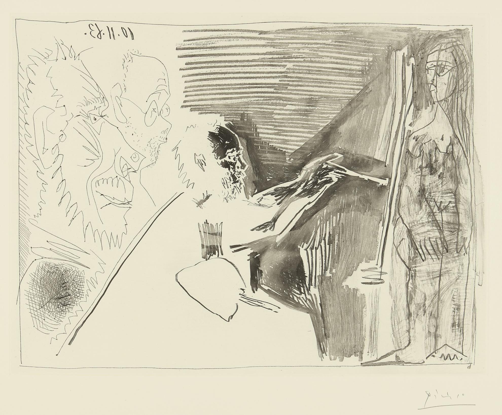 Pablo Picasso-Peintre Et Modele Debout Avec Deux Spectateurs (B. 1126; Ba. 1121)-1963