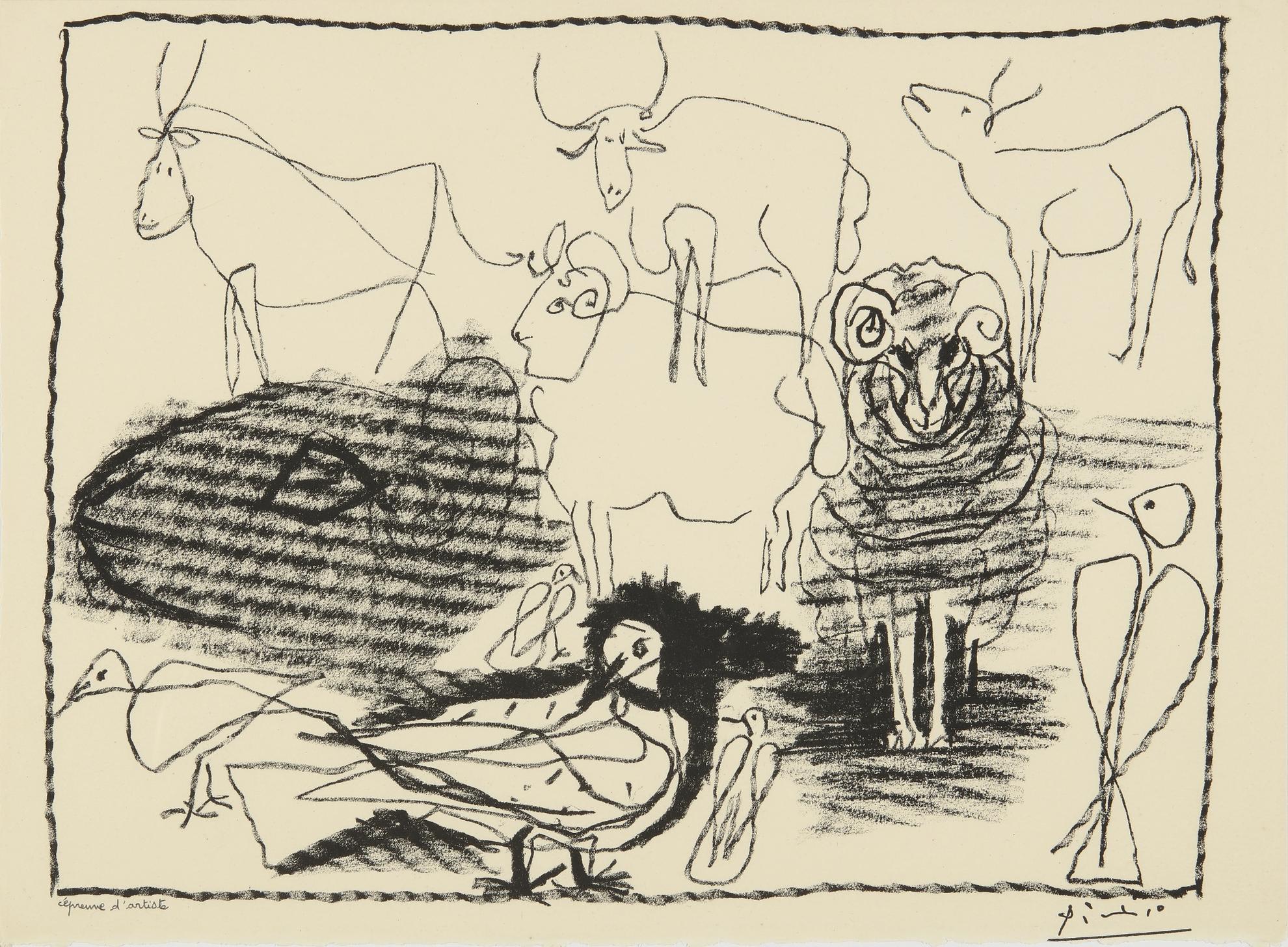 Pablo Picasso-Taureaux, Beliers Et Oiseaux (B. 1344; M. 21)-1945