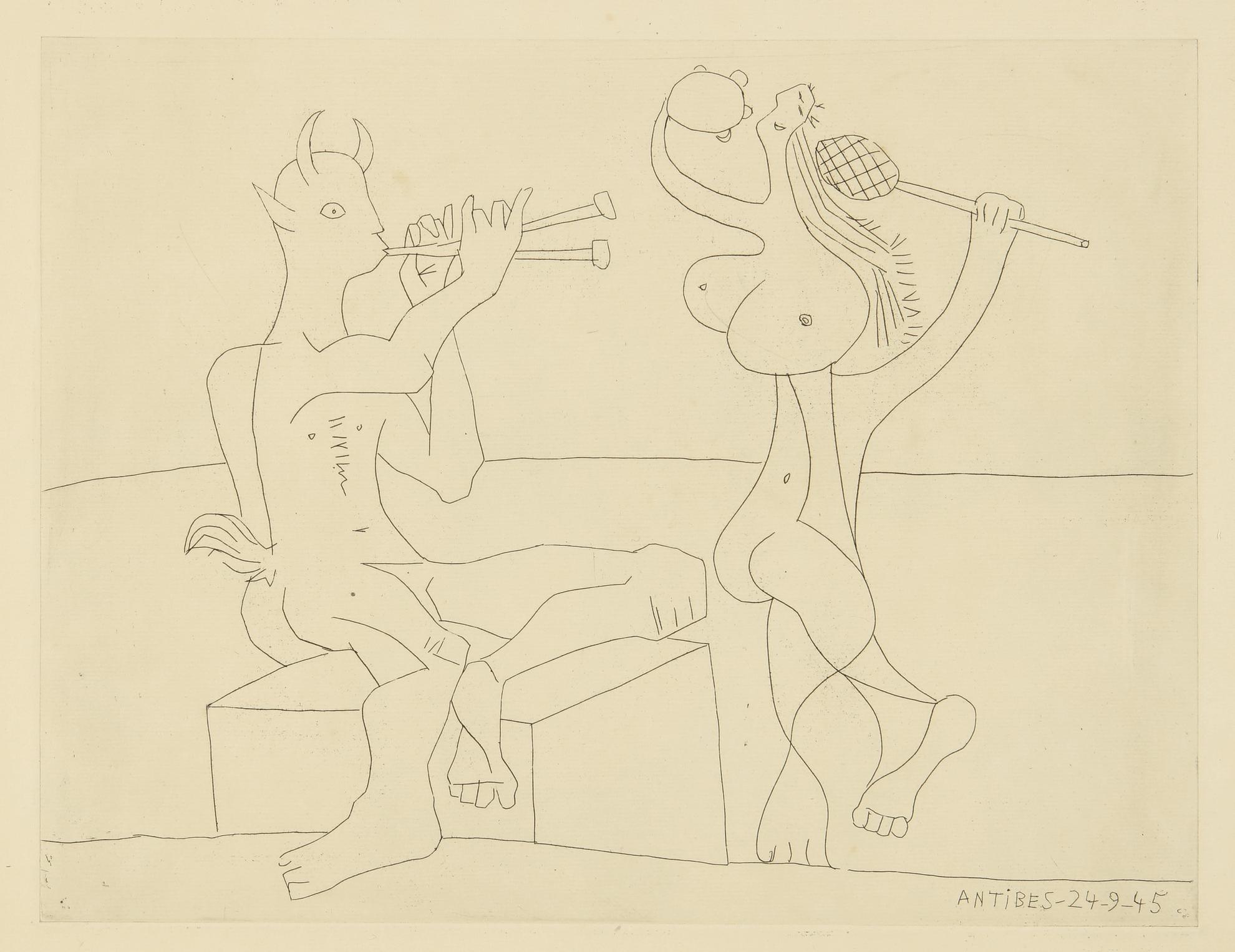 Pablo Picasso-Faune Flutiste Et Danseuse A La Maraca Et Au Tambourin: Two Prints (B. 1341; Ba. 702)-1945