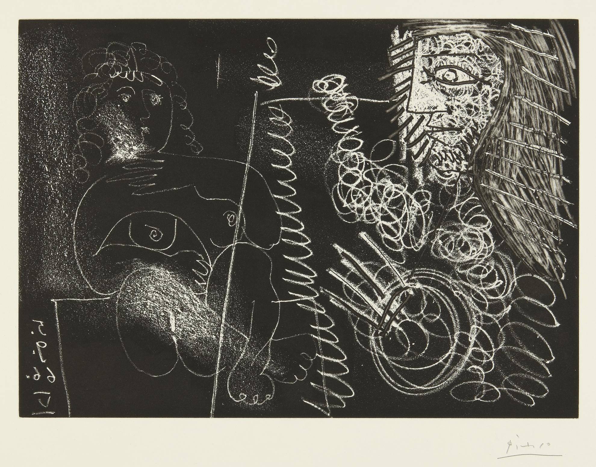 Pablo Picasso-Peintre Et Demi-Figure Et Modele Assis En Tailleur (B. 1375; Ba. 1396)-1966
