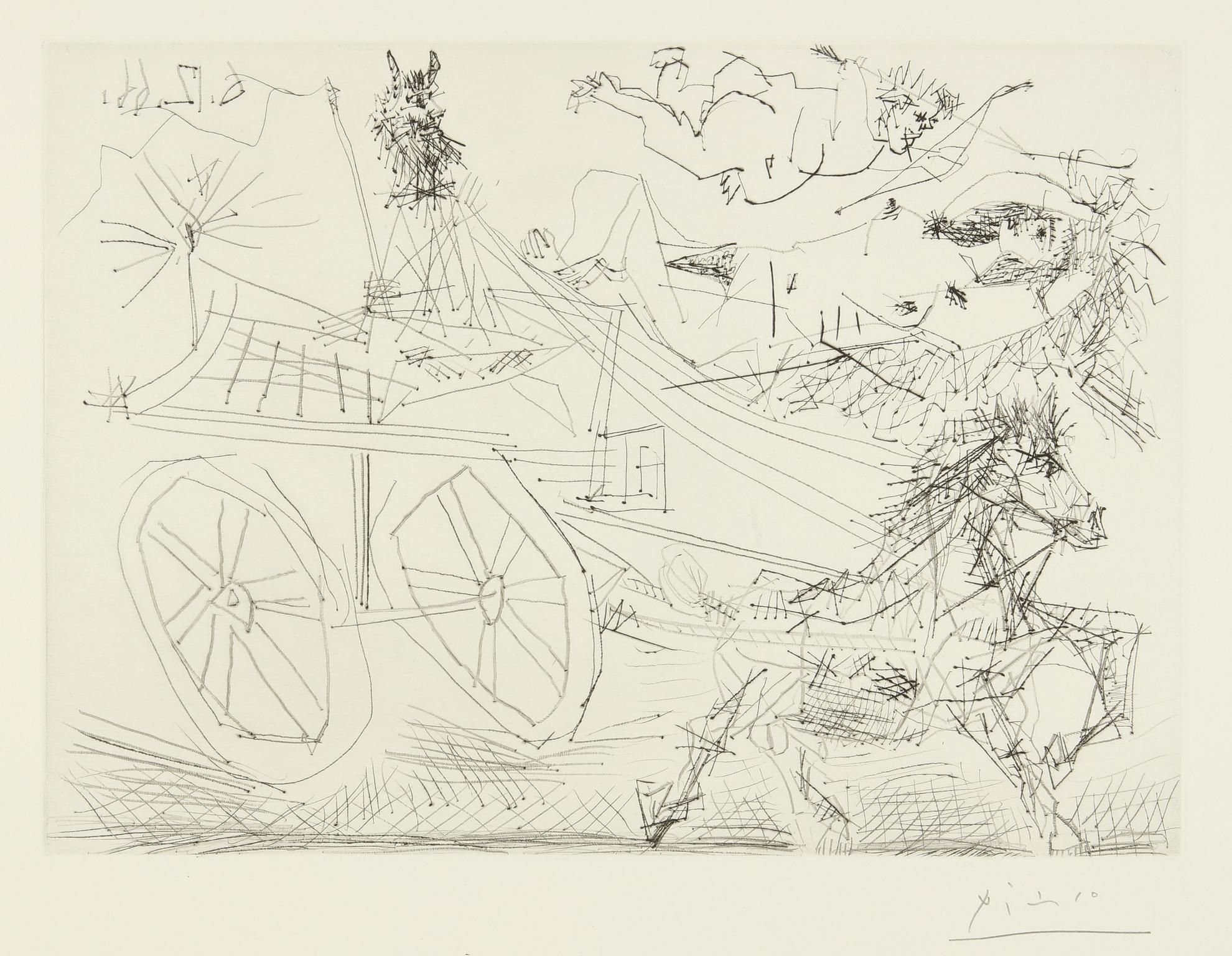 Pablo Picasso-Charrette Foraine Conduite Par Un Petit Animal, Avec Nu Et Amour Dans Le Ciel (B. 1398; Ba. 1462)-1966