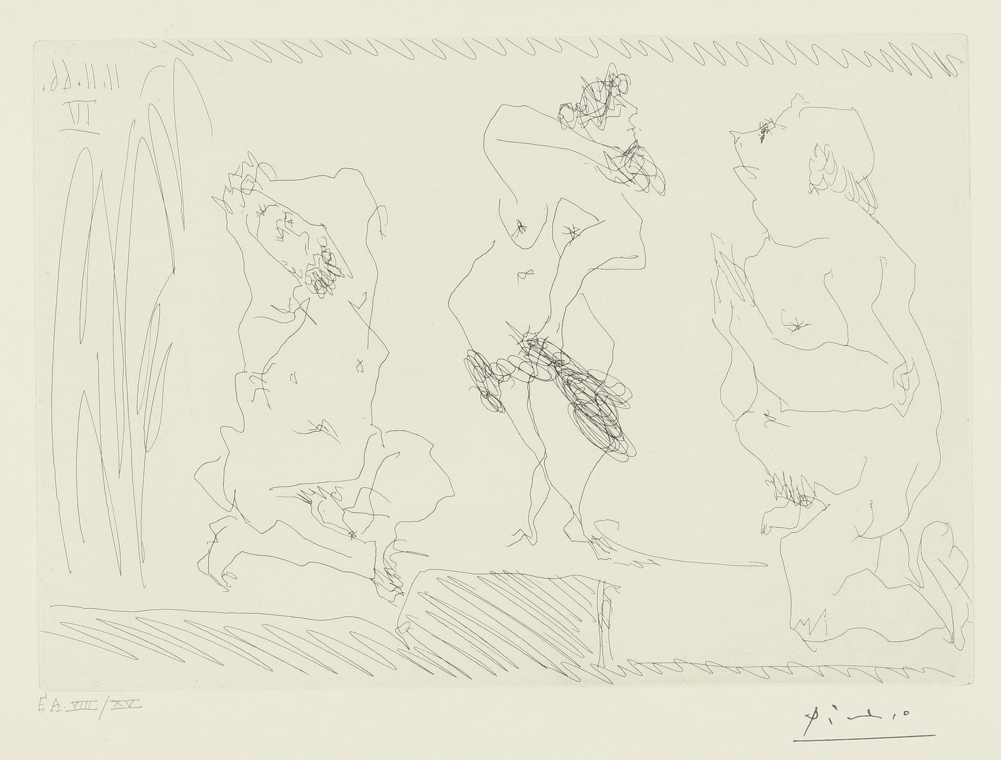 Pablo Picasso-Scene De Theatre: Danseuse Et Deux Vieillards (B. 1410; Ba. 1425)-1966