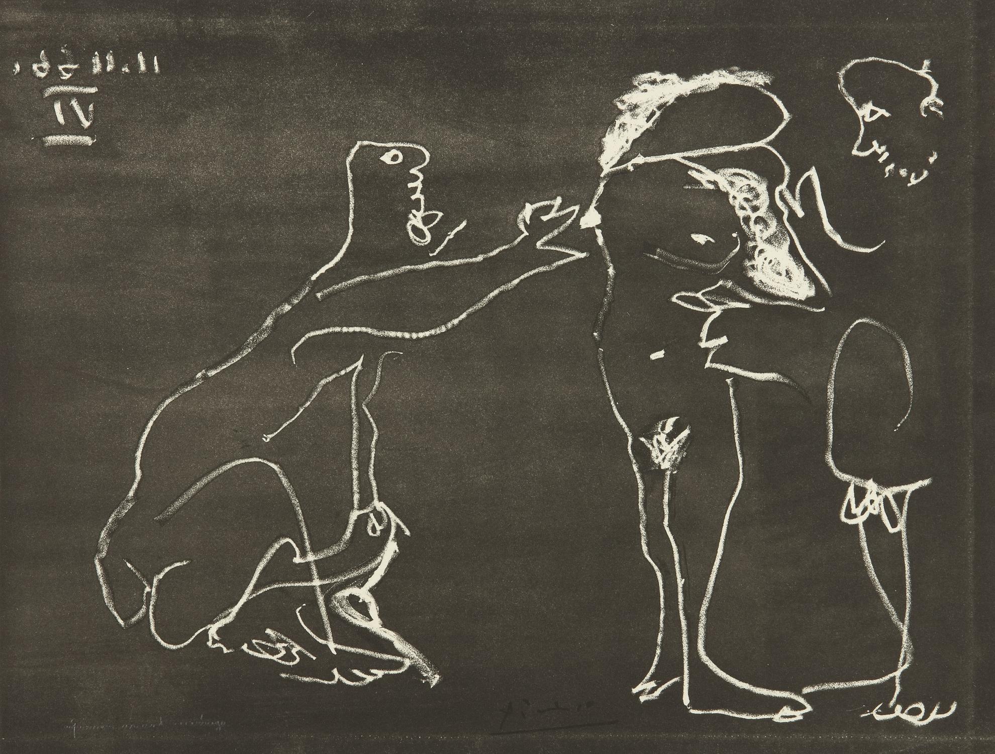 Pablo Picasso-Femme Nue Se Cachant Le Visage, Avec Deux Hommes (B. 1412; Ba. 1427)-1966