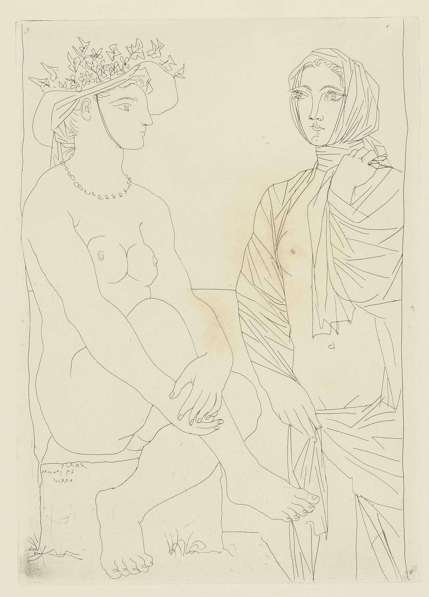Pablo Picasso-Au Bain. Femme Au Chapeau A Fleurs Et Femme Drapee Dans Une Serviette (B. 210; Ba. 408)-1934