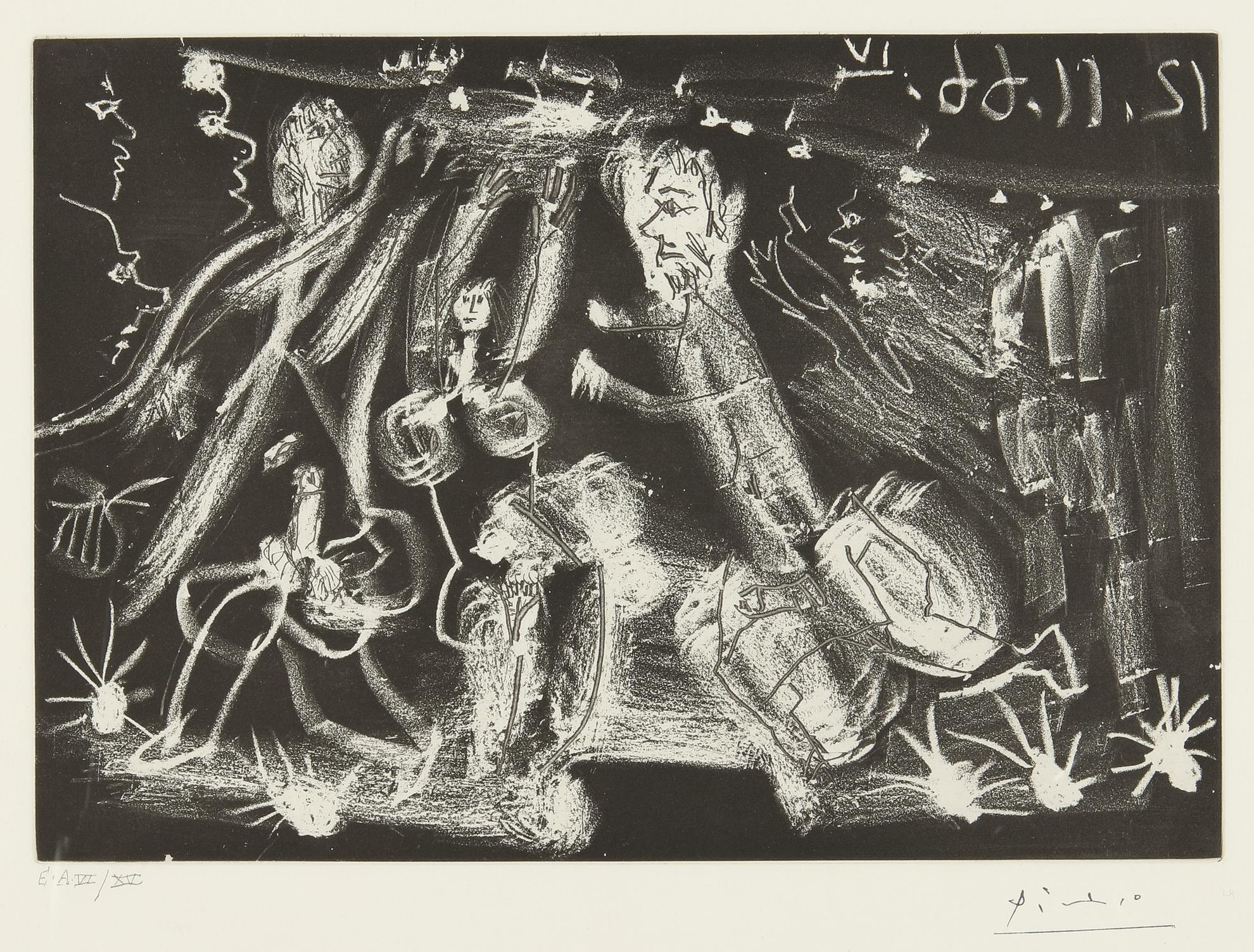 Pablo Picasso-Sous Le Feux De La Rampe: 'Au Viol!' (B. 1415; Ba. 1430)-1966