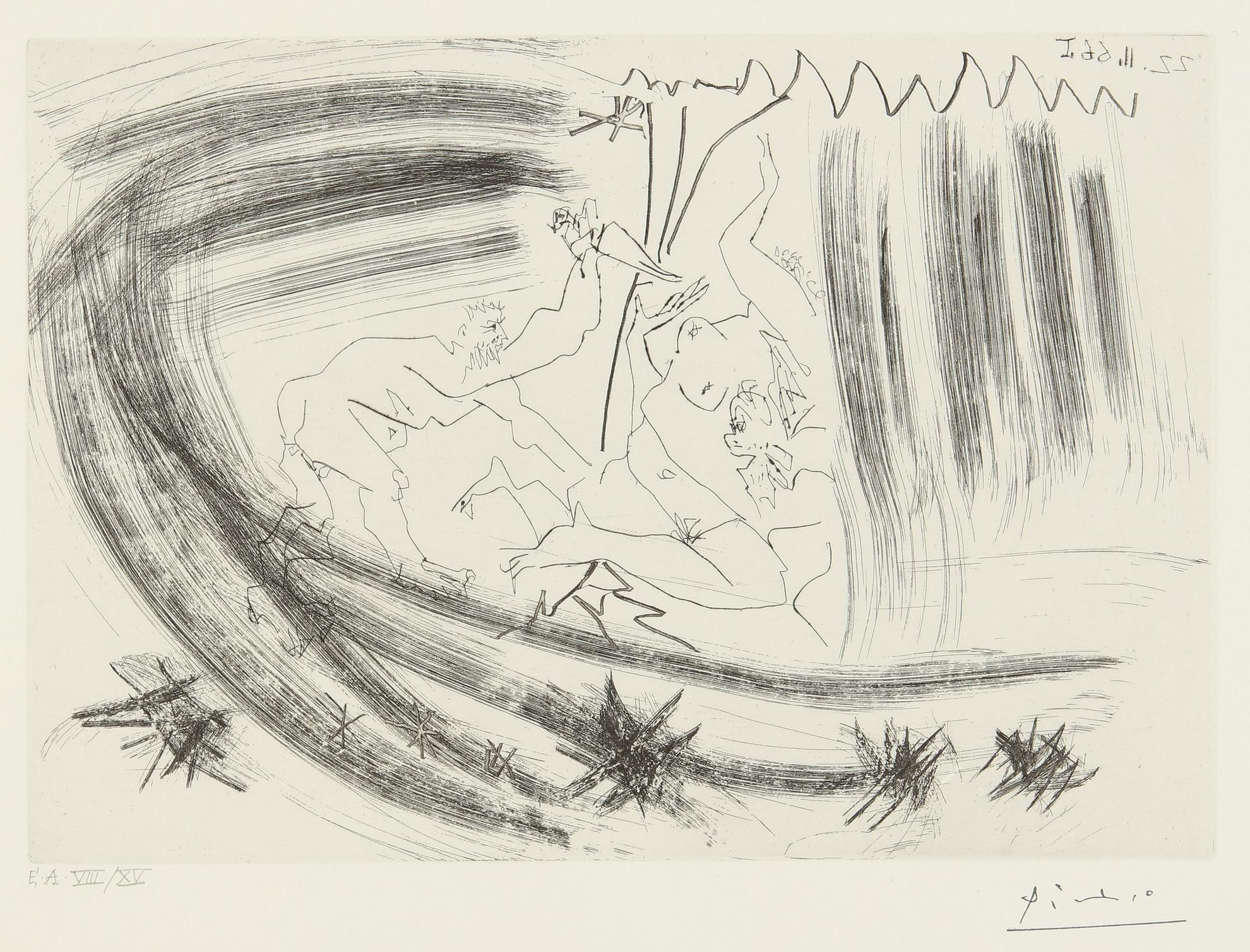 Pablo Picasso-Au Theatre: Meurtre  (B. 1419; Ba. 1447)-1966