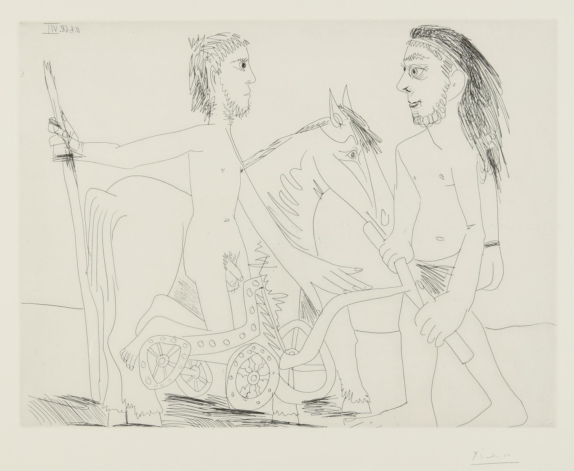 Pablo Picasso-Television: Combat De Chars A Lantique (B. 1510; Ba. 1526)-1968