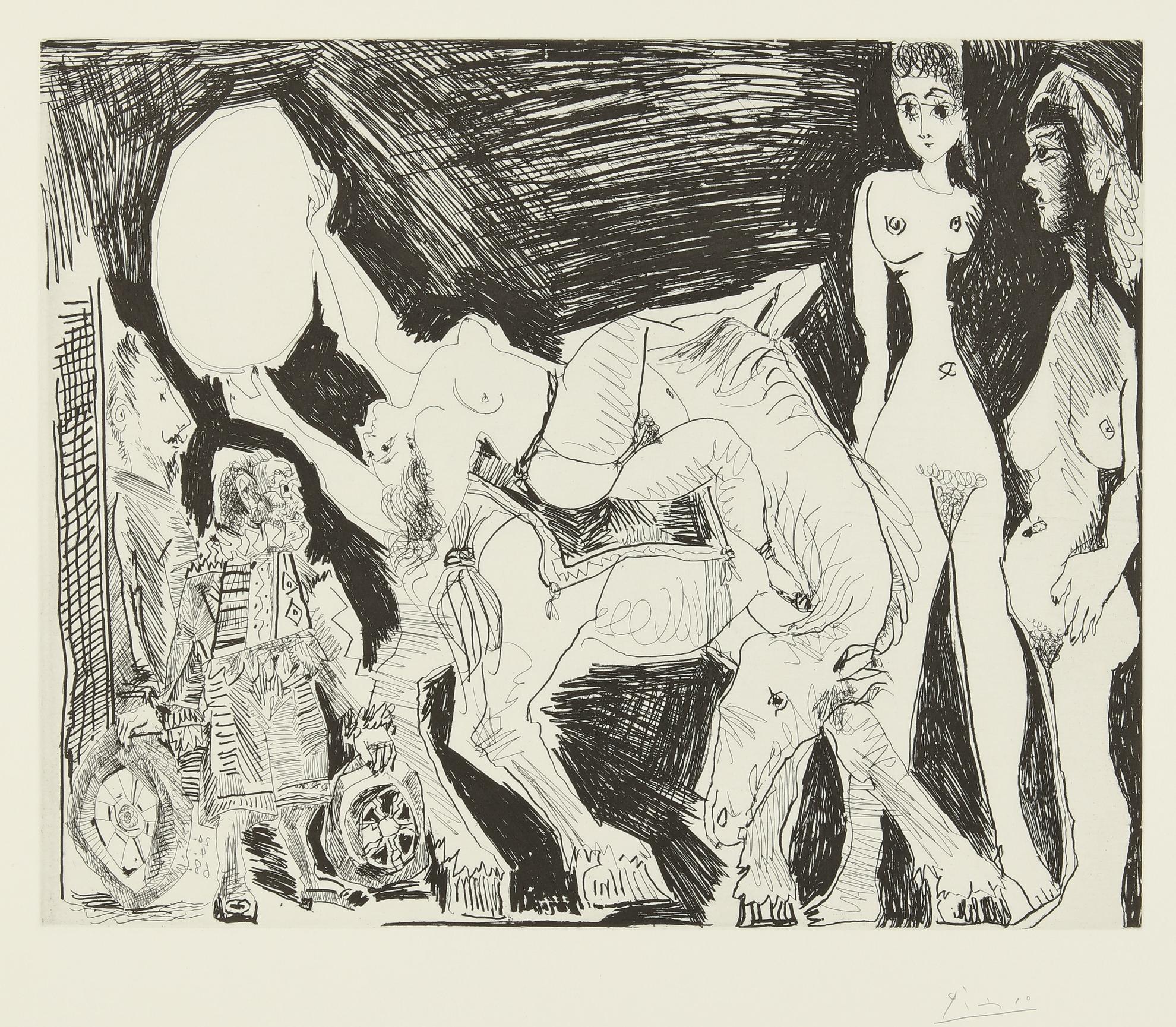Pablo Picasso-Cirque: Ecuyere, Femmes Et Spectateurs, Dont Un Garagiste Deguise (B. 1523; Ba. 1539)-1968