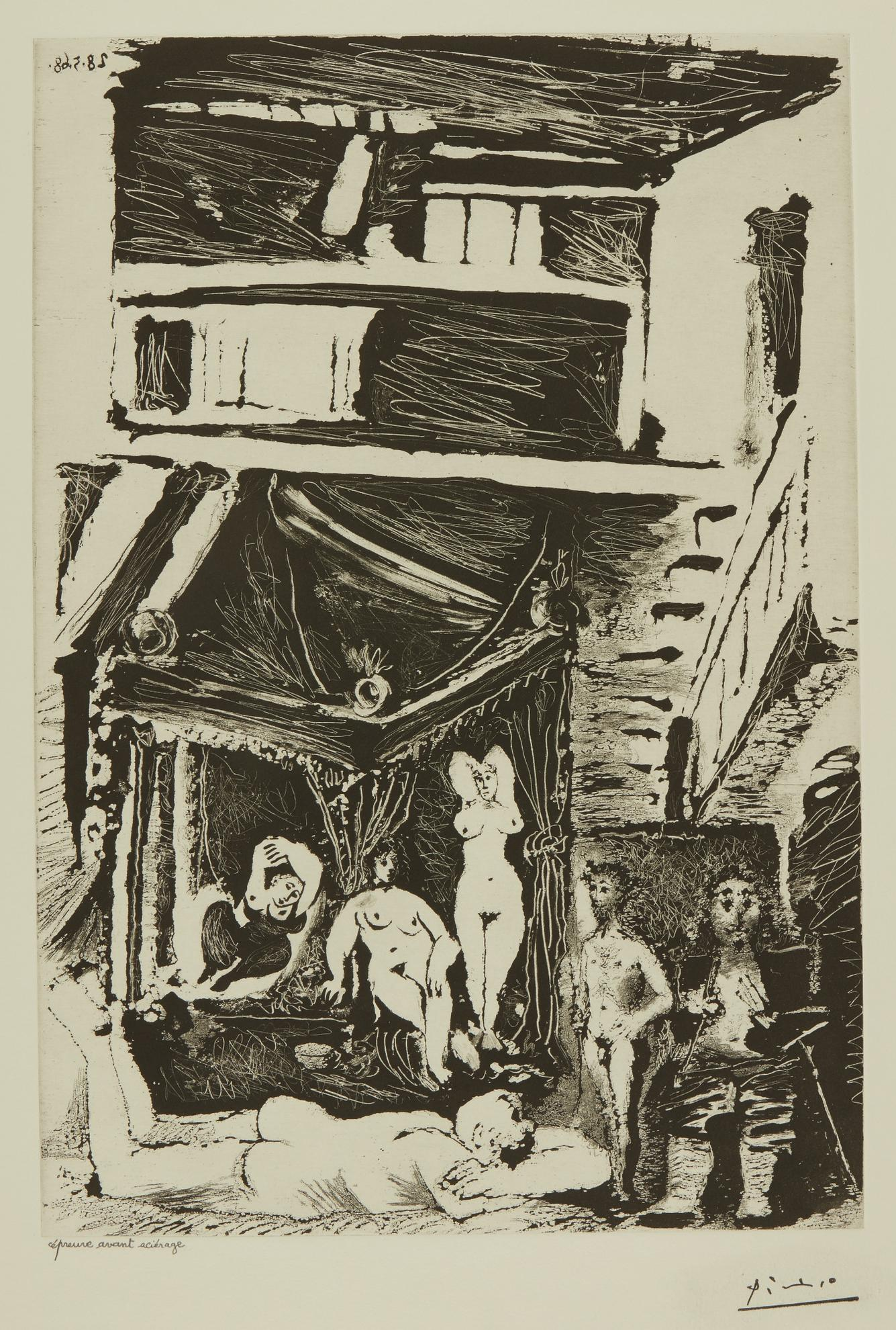 Pablo Picasso-Vieil Homme Songeant A Sa Vie... (B. 1604; Ba. 1619)-1968