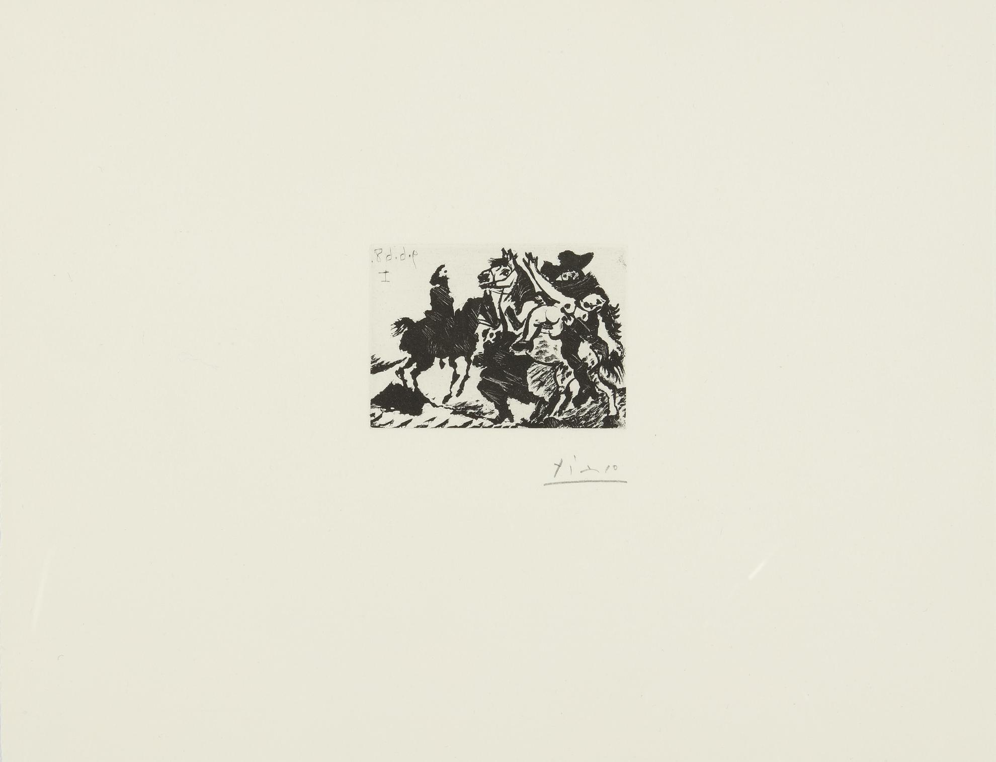Pablo Picasso-Reitre Enlevant Une Femme Pour Le Compte Dun Cavalier (B. 1626; Ba. 1642)-1968