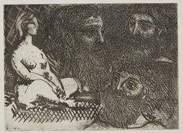 Pablo Picasso-Femme Nue Assise Et Tetes Barbues (B. 216; Ba. 416)-1934