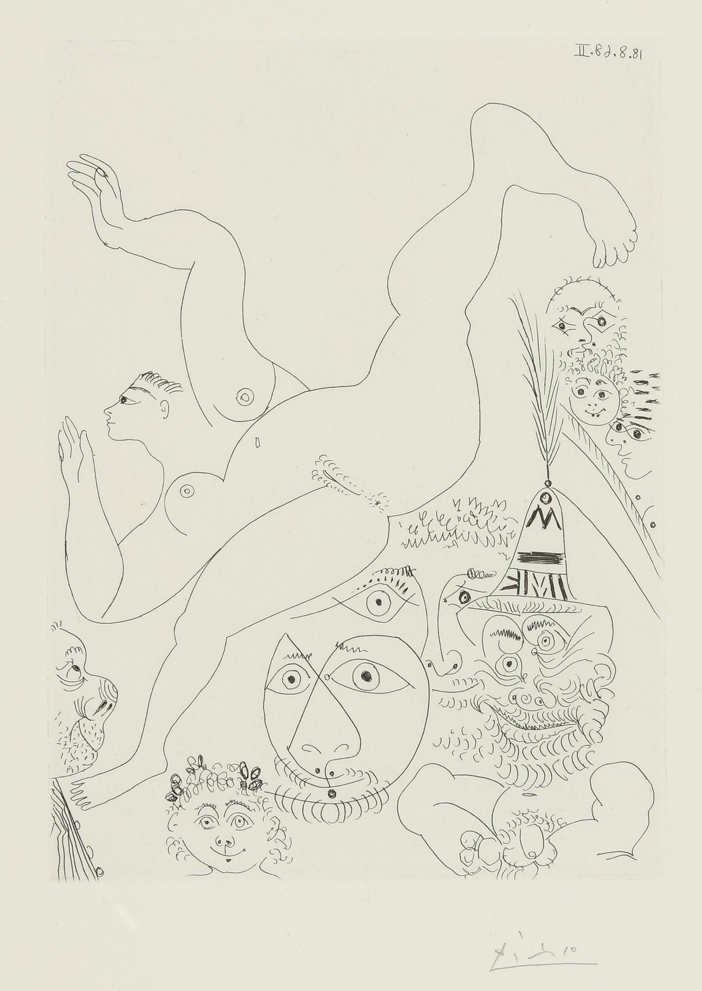 Pablo Picasso-Television: Gymnastique Au Sol, Avec Spectateurs (B. 1763; Ba. 1780)-1968
