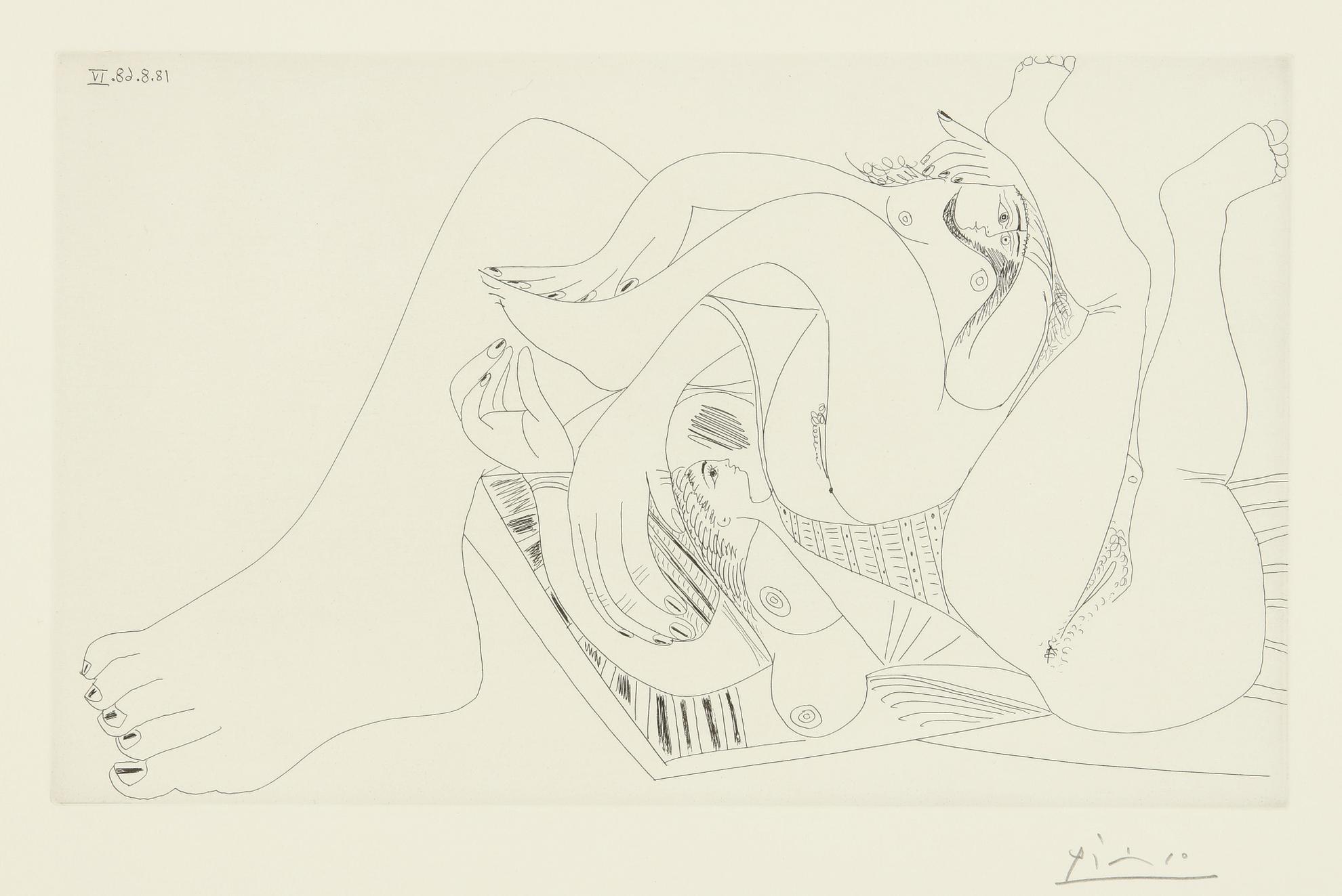 Pablo Picasso-Deux Femmes Batifolant Sur Un Matelas De Plage (B. 1765; Ba. 1782)-1968