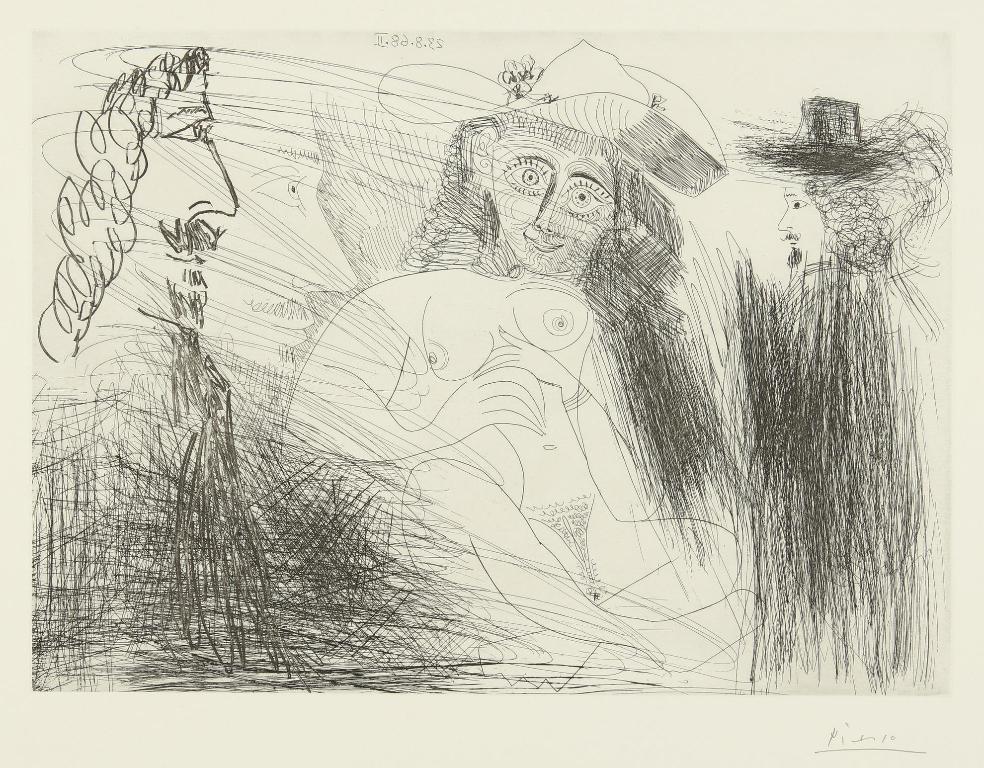 Pablo Picasso-Peintre, Modele Au Chapeau De Paille, Et Gentilhomme (B. 1773; Ba. 1790)-1968