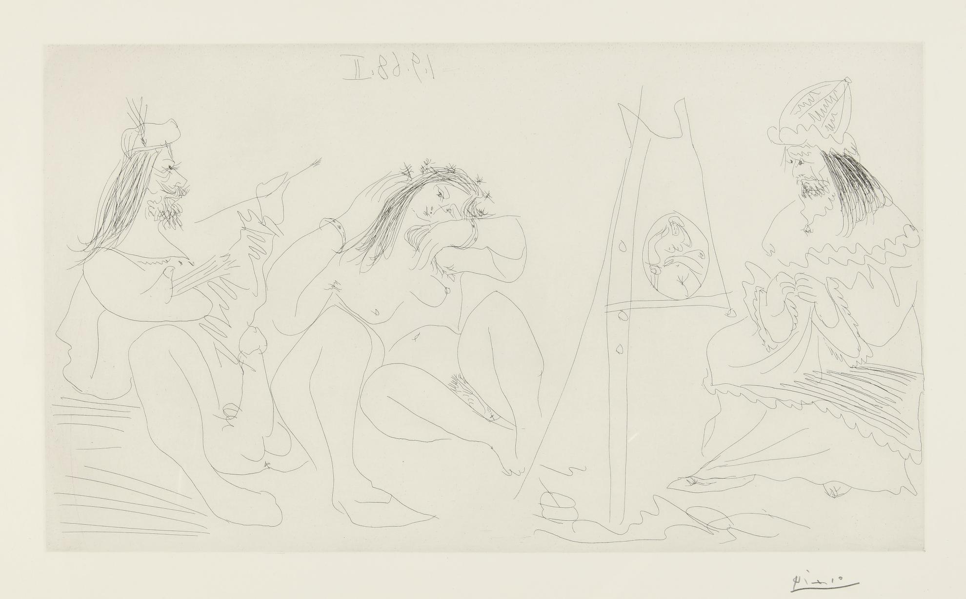 Pablo Picasso-Raphael Et La Fornarina. VII: Le Pape Est La, Assis (B. 1782; Ba. 1799)-1968