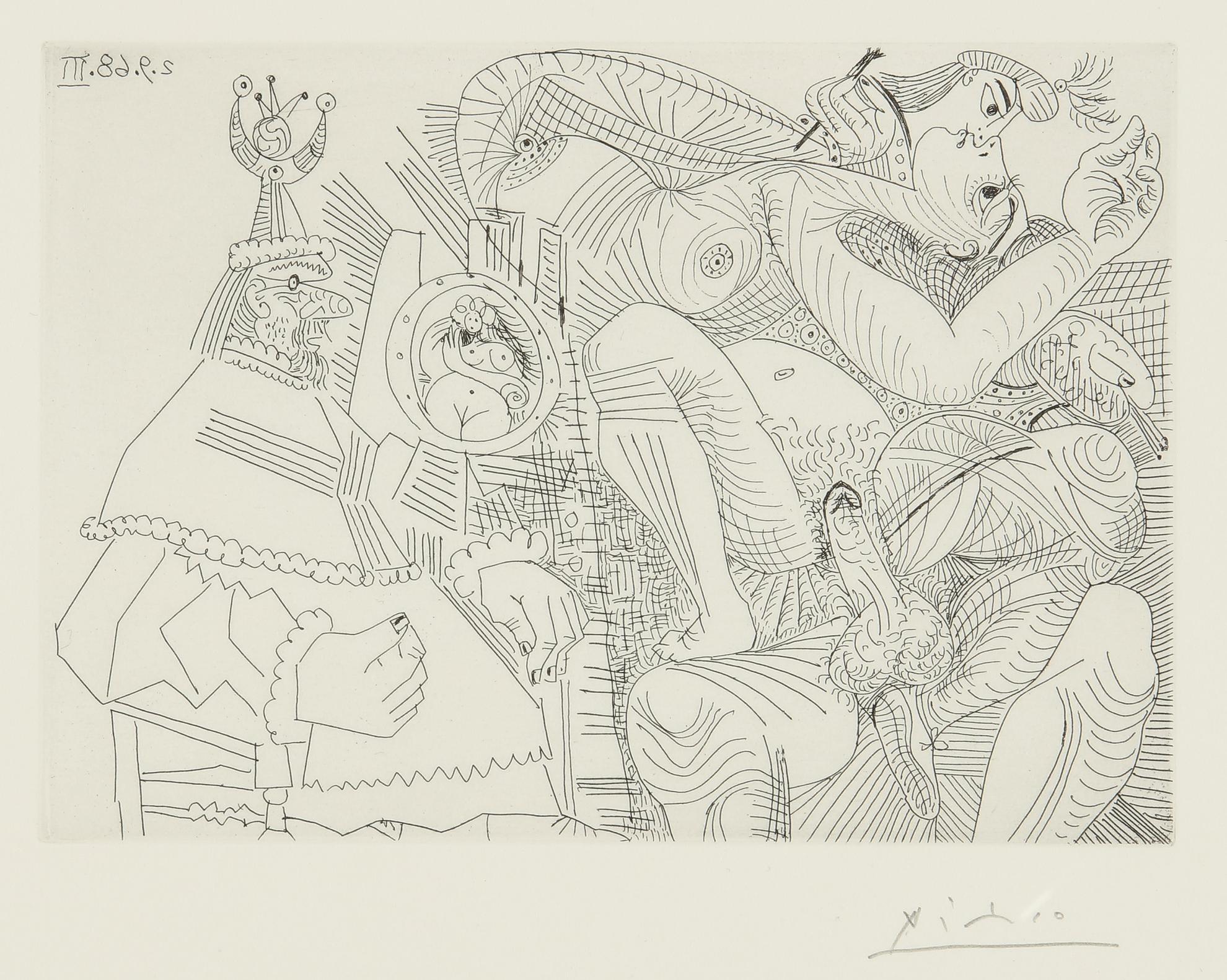 Pablo Picasso-Raphael Et La Fornarina. Xii: Le Pape Est Bouche Bee Dans Son Fauteuil (B. 1787; Ba. 1804)-1968
