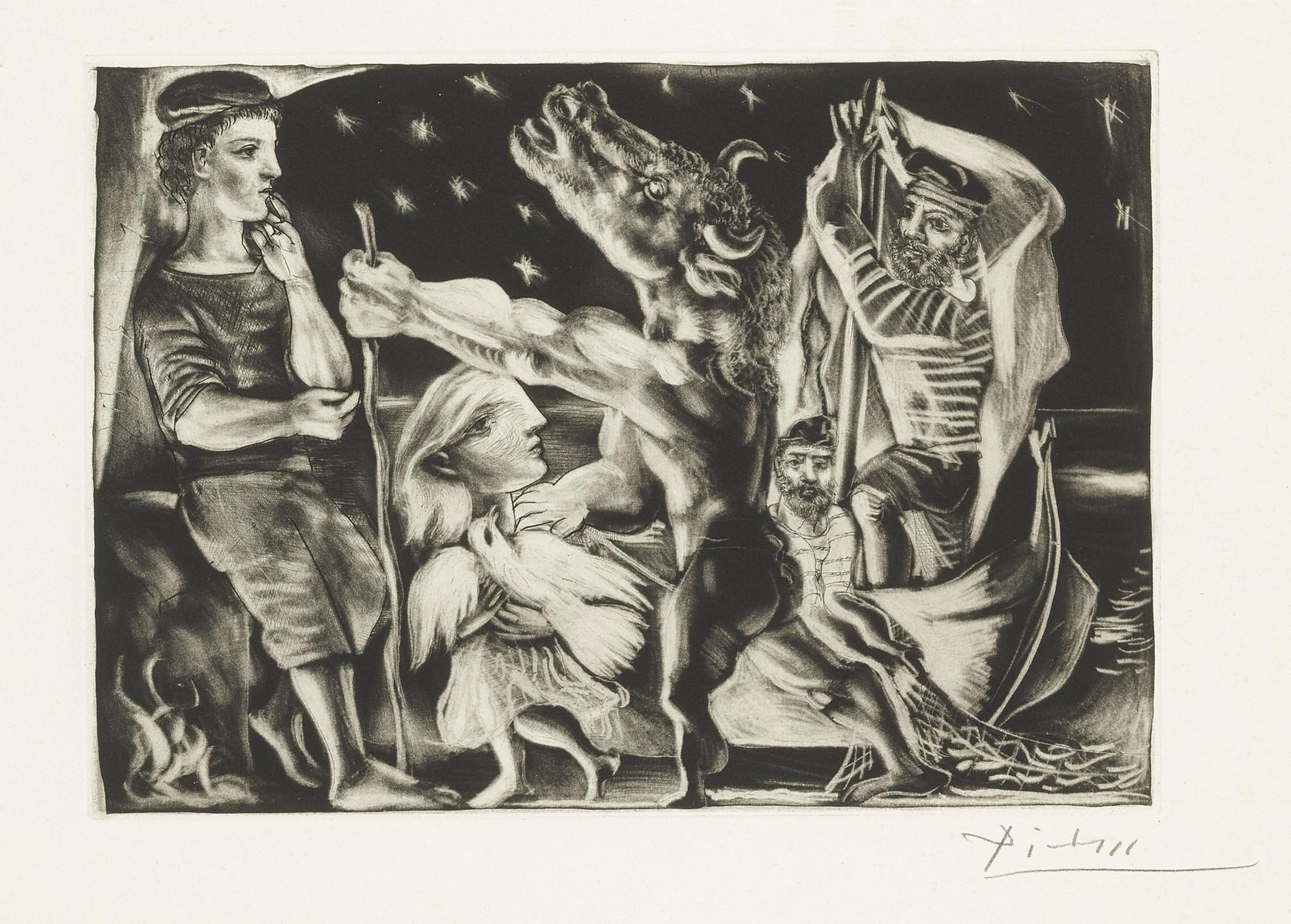 Pablo Picasso-Minotaure Aveugle Guide Par Marie-Therese Au Pigeon Dans Une Nuit Etoilee (Bloch 225; Baer 437)-1934