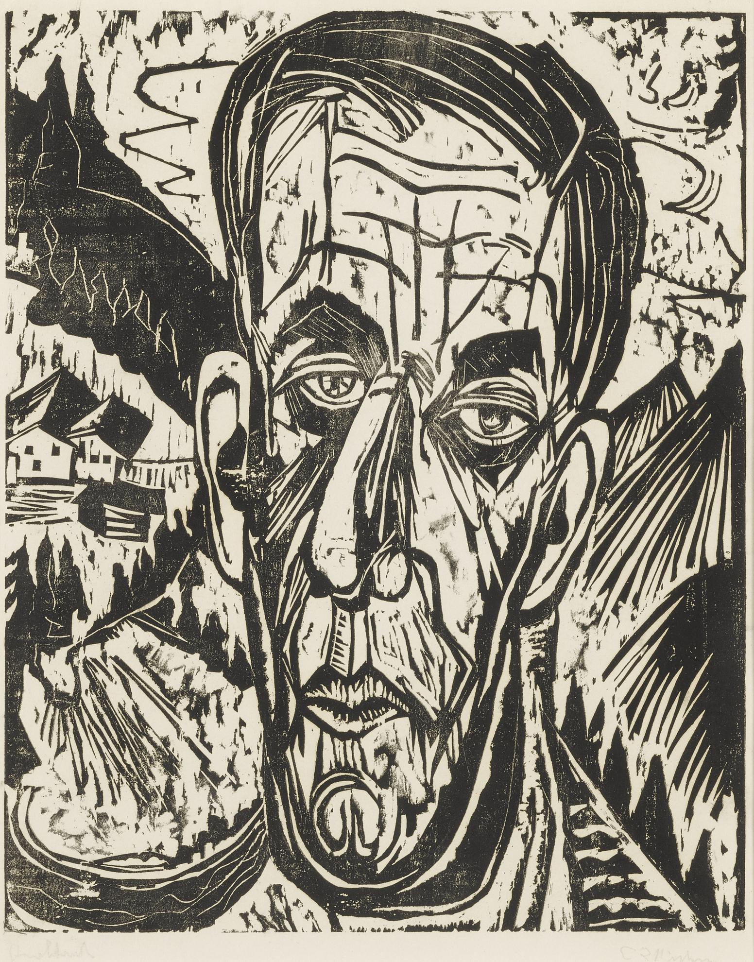Ernst Ludwig Kirchner-Kopf Henry Van De Velde, Hell. - Van De Velde Zwischen Bergen (Dube H311; Schiefler H286; Gercken 861/Ii)-1917