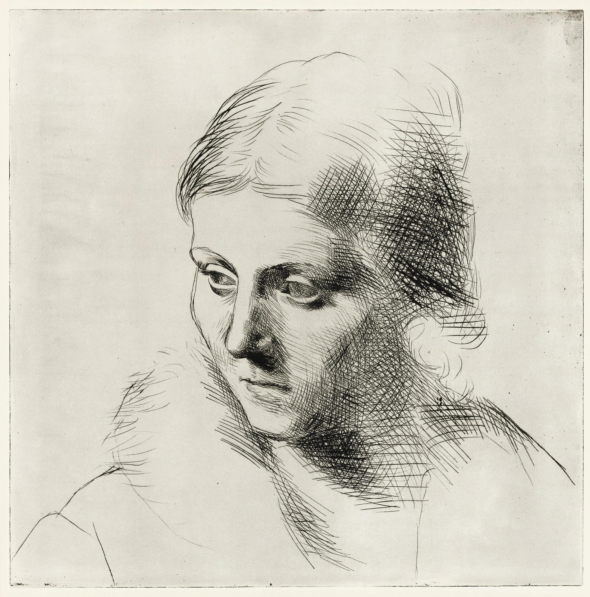 Pablo Picasso-Portrait Dolga Au Col De Fourrure (Ba. 109)-1923