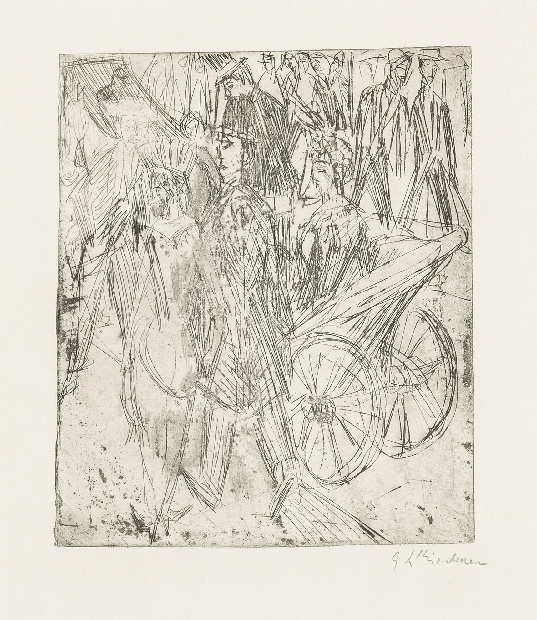 Ernst Ludwig Kirchner-Paar Vor Der Droschke (D. R188; Sch. R179; G. 655)-1914