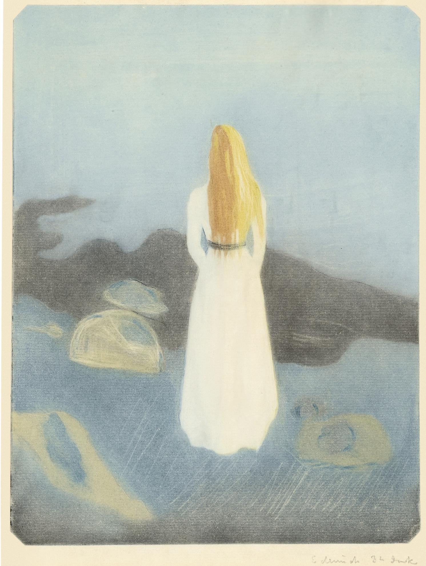 Edvard Munch-Young Woman On The Beach. The Lonely One (Sch. 42; W. 49)-1896