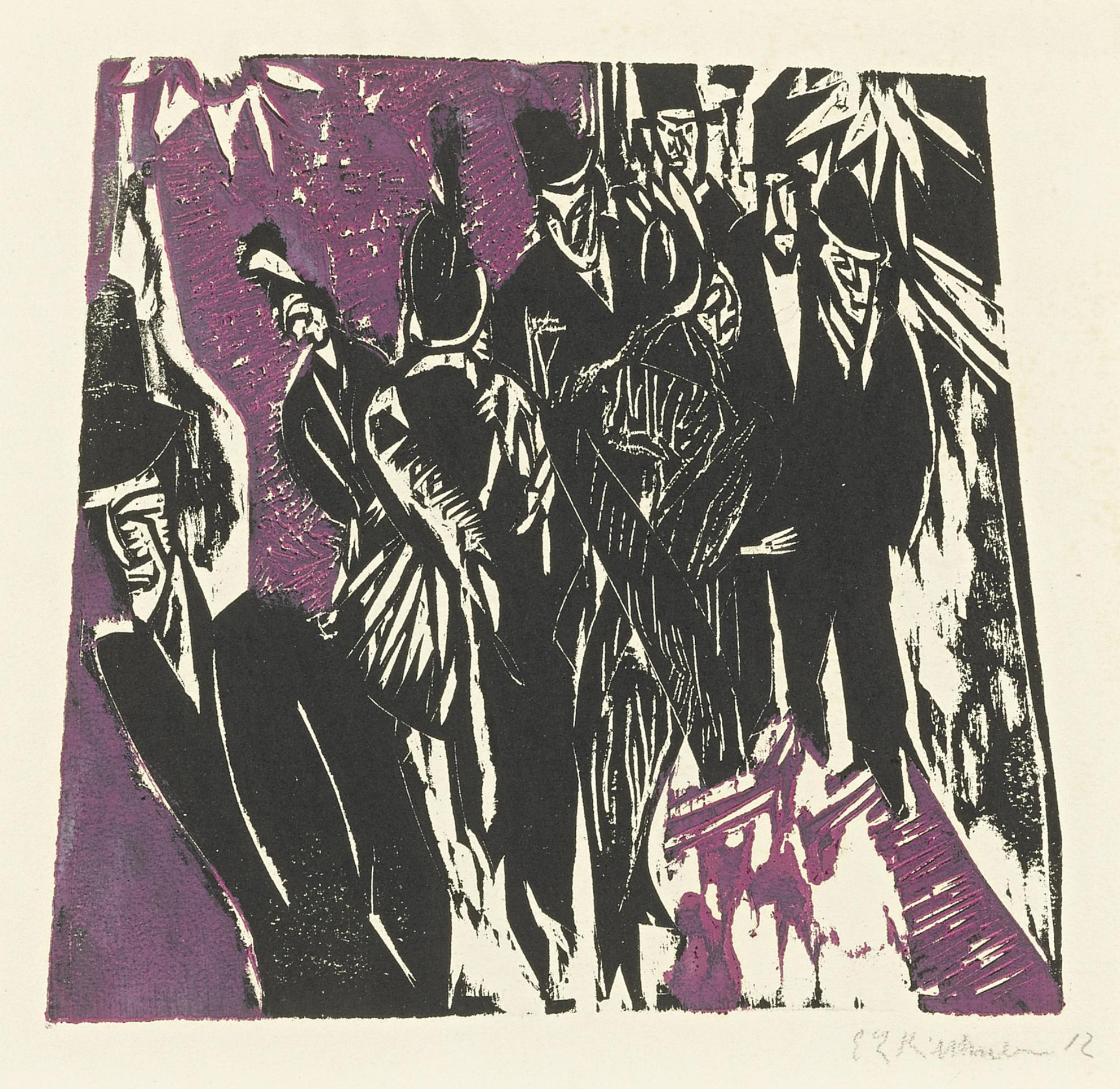Ernst Ludwig Kirchner-Strassenszene (D. H235/B; Sch. H218; G. 643/2)-1914