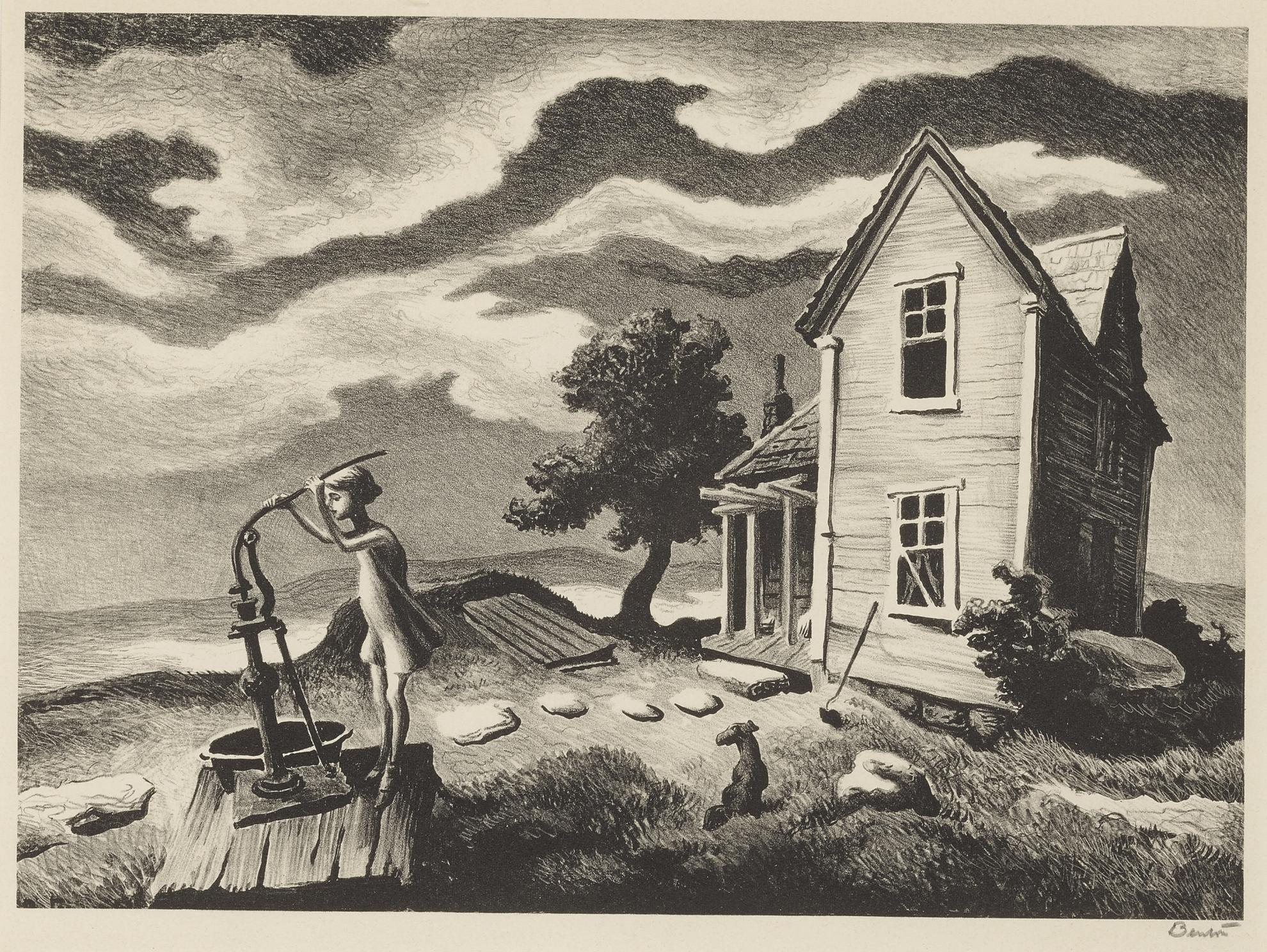 Thomas Hart Benton-The Farmers Daughter, The Little Fisherman And Sorghum Mill (Fath 62, 80, 81)-1969