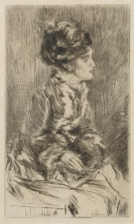 James Abbott McNeill Whistler-The Muff (Kennedy 113; Glasgow 131)-1874
