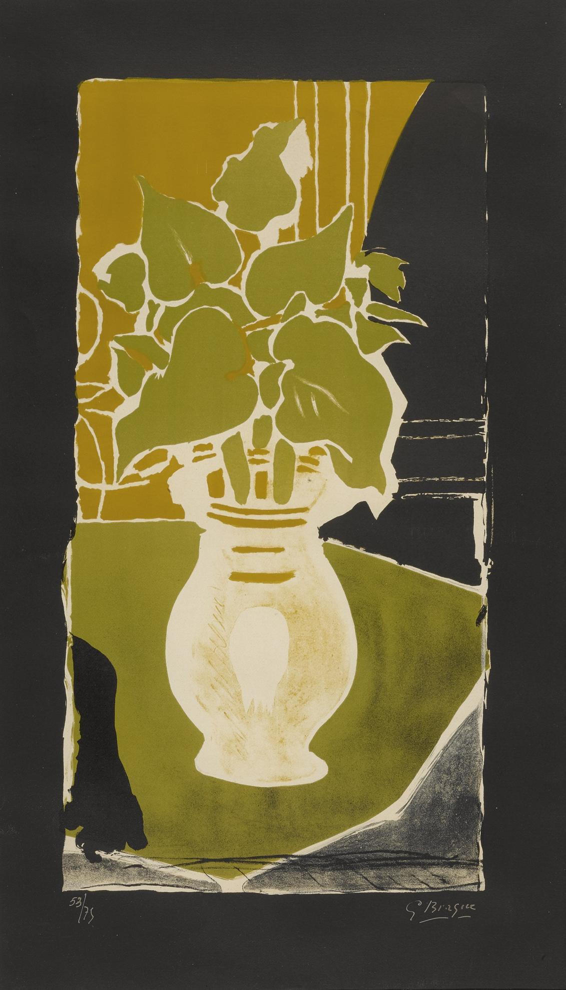 Georges Braque-Feuilles Couleur Lumiere (Vallier 86)-1954