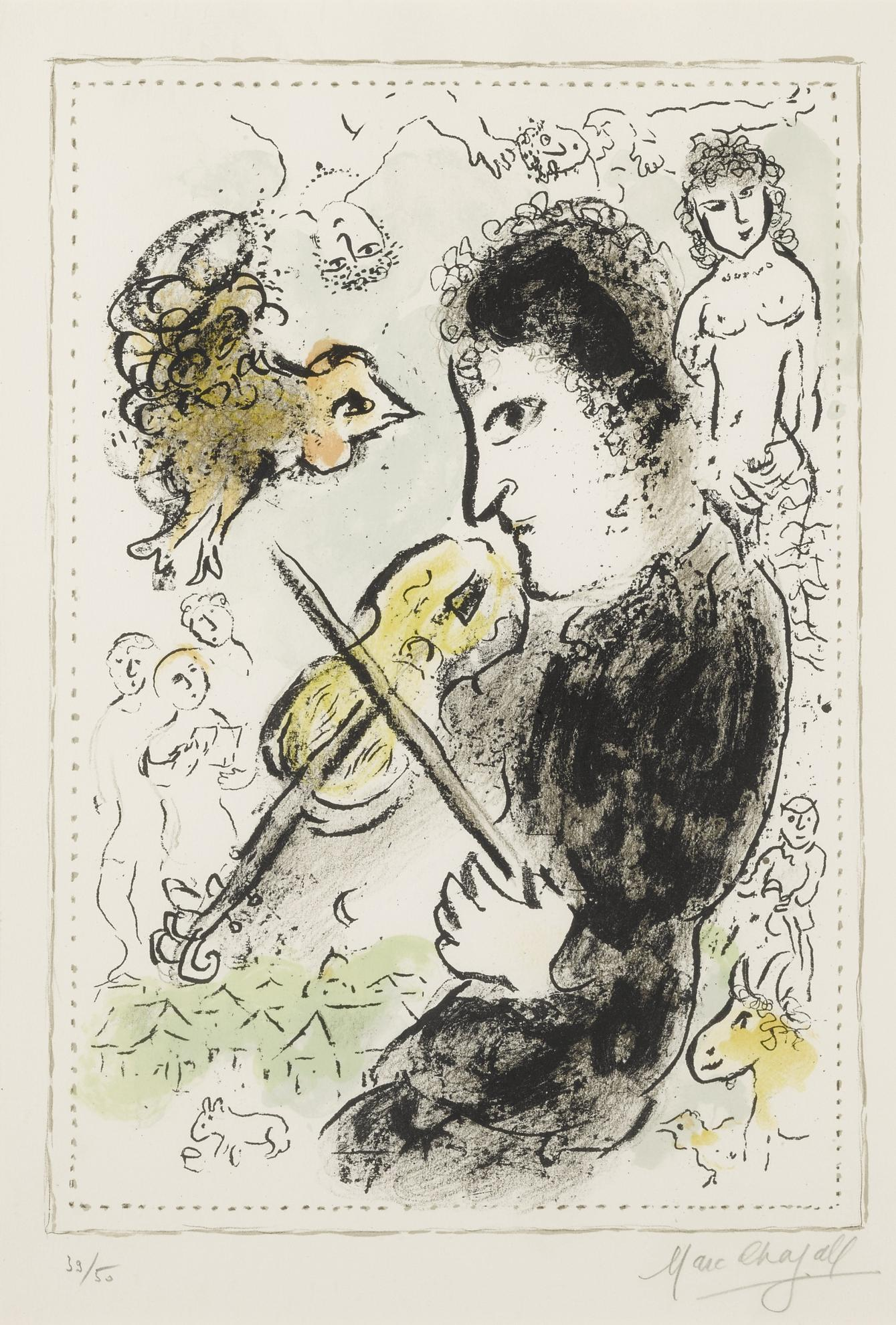 Marc Chagall-Violinist With Cock (M. 1000)-1982