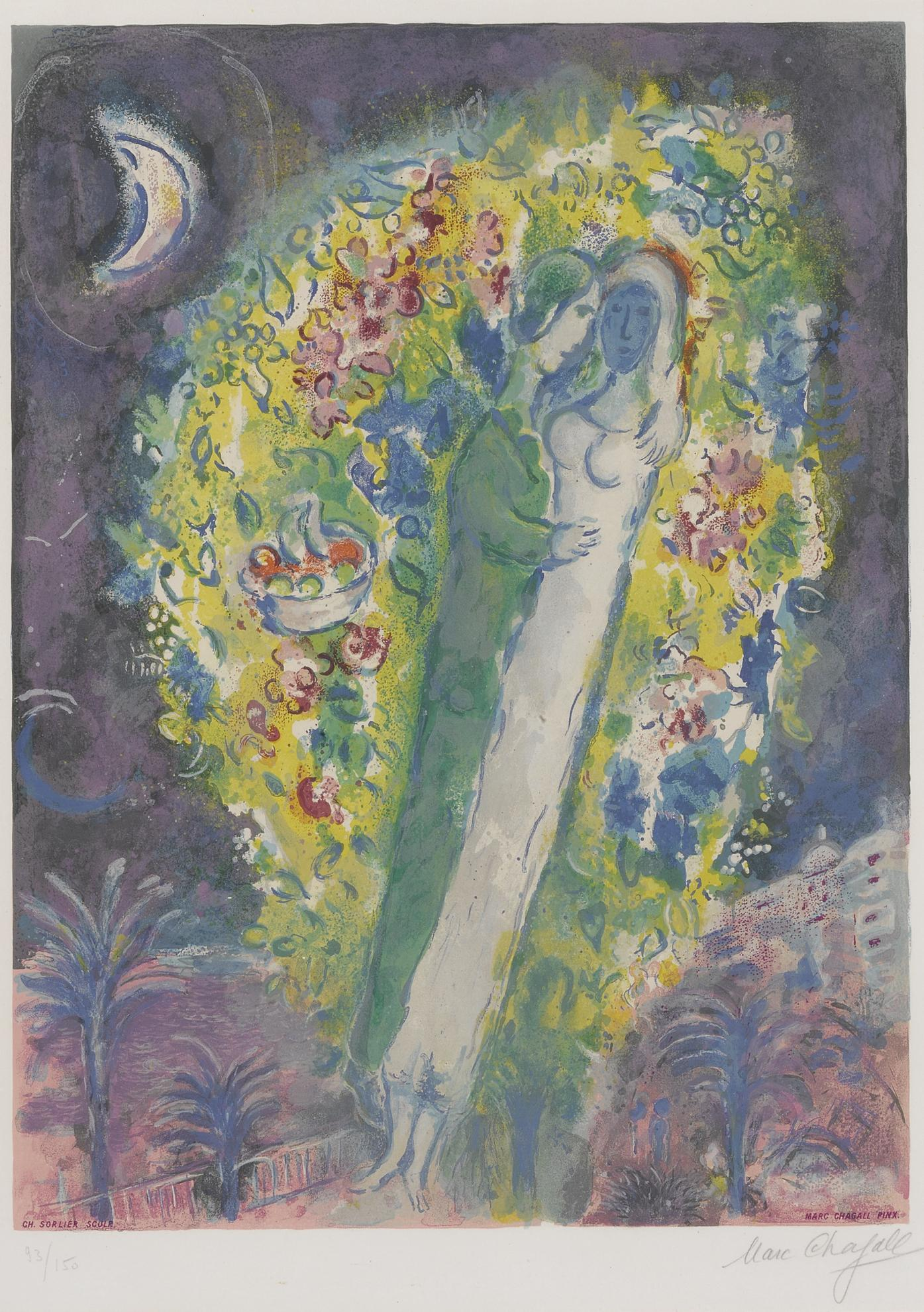Charles Sorlier After Marc Chagall - Couple In Mimosa (M. Cs 32)-1967