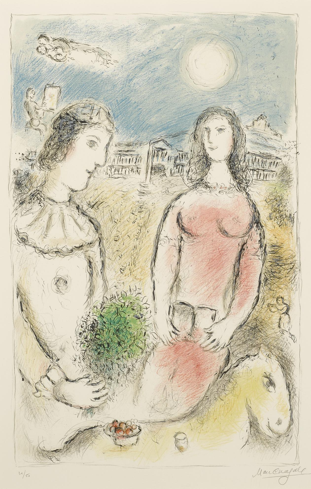 Marc Chagall-Couple At Dusk (M. 972)-1980