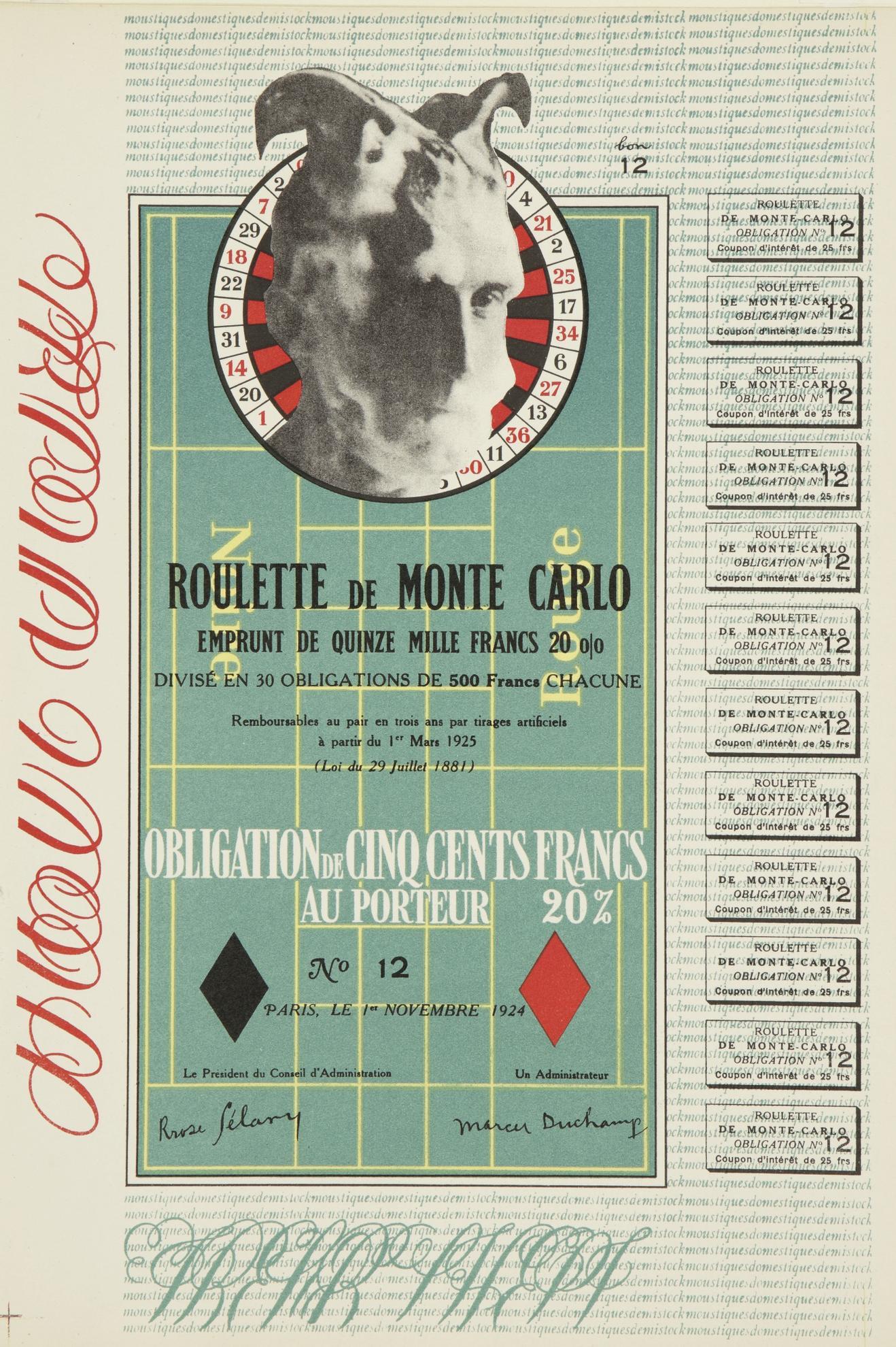 Marcel Duchamp-Monte Carlo Bond (Schwarz 406B)-1924
