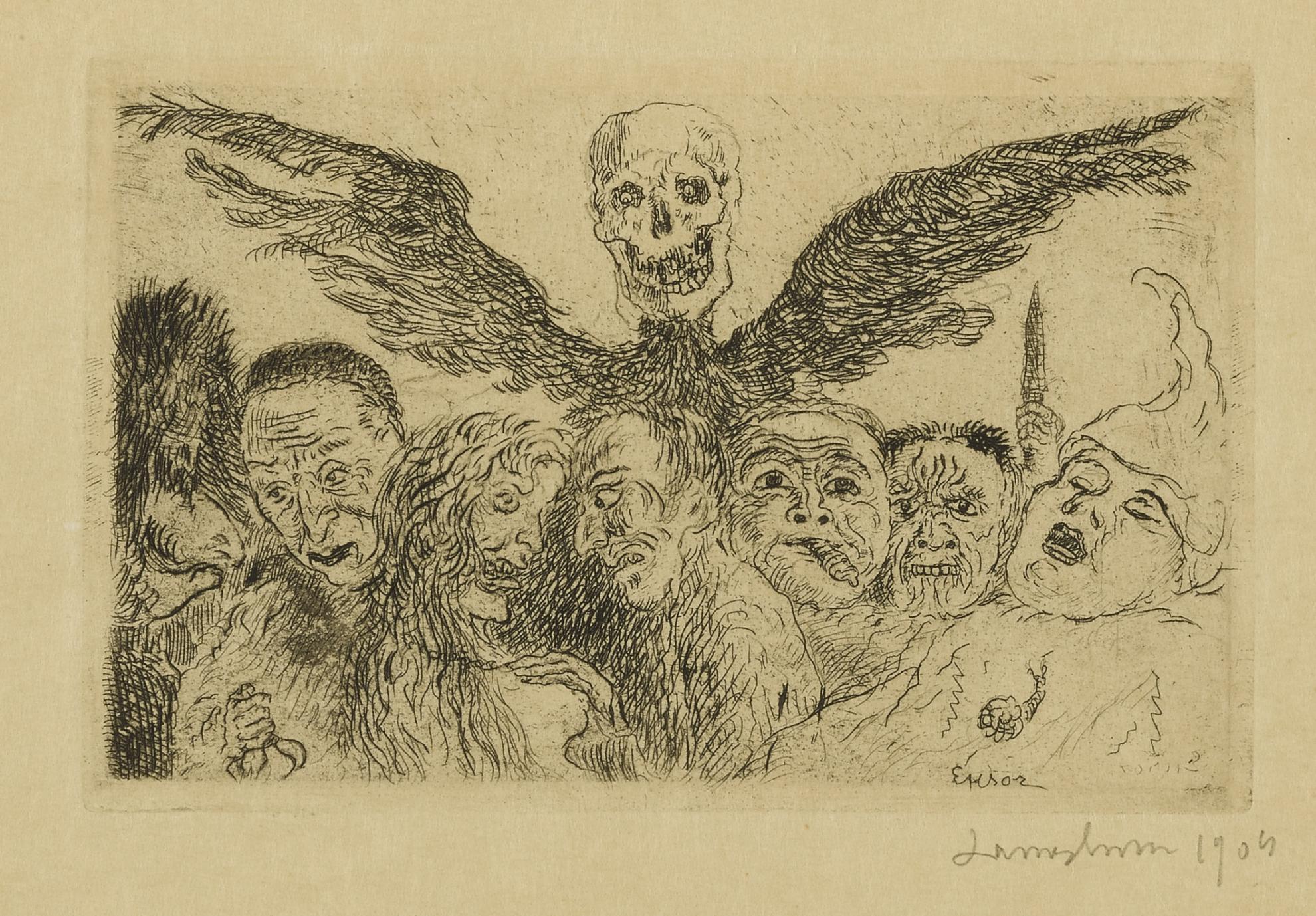 James Ensor-Les Peches Capitaux Domines Par La Mort (Delteil,Taevernier 126; Elesh 131)-1904