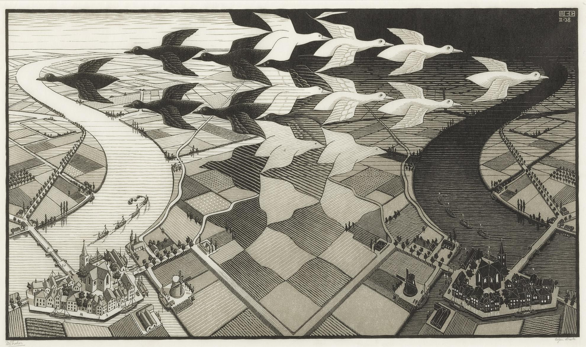 Maurits Cornelis Escher-Day And Night (B./K./L./W 303)-1938
