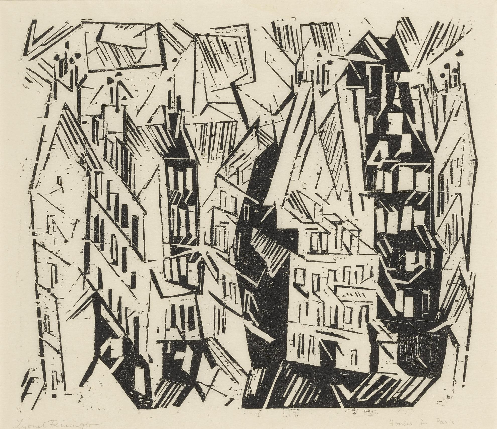 Lyonel Feininger-Pariser Hauser (Houses In Paris); And Four Woodcuts (Prasse W 18, W 59, W 76, W 128, W 135); together with Kirche und Dorf; Waldkirche, 1; Marine; and Angler und Schiffe-1918