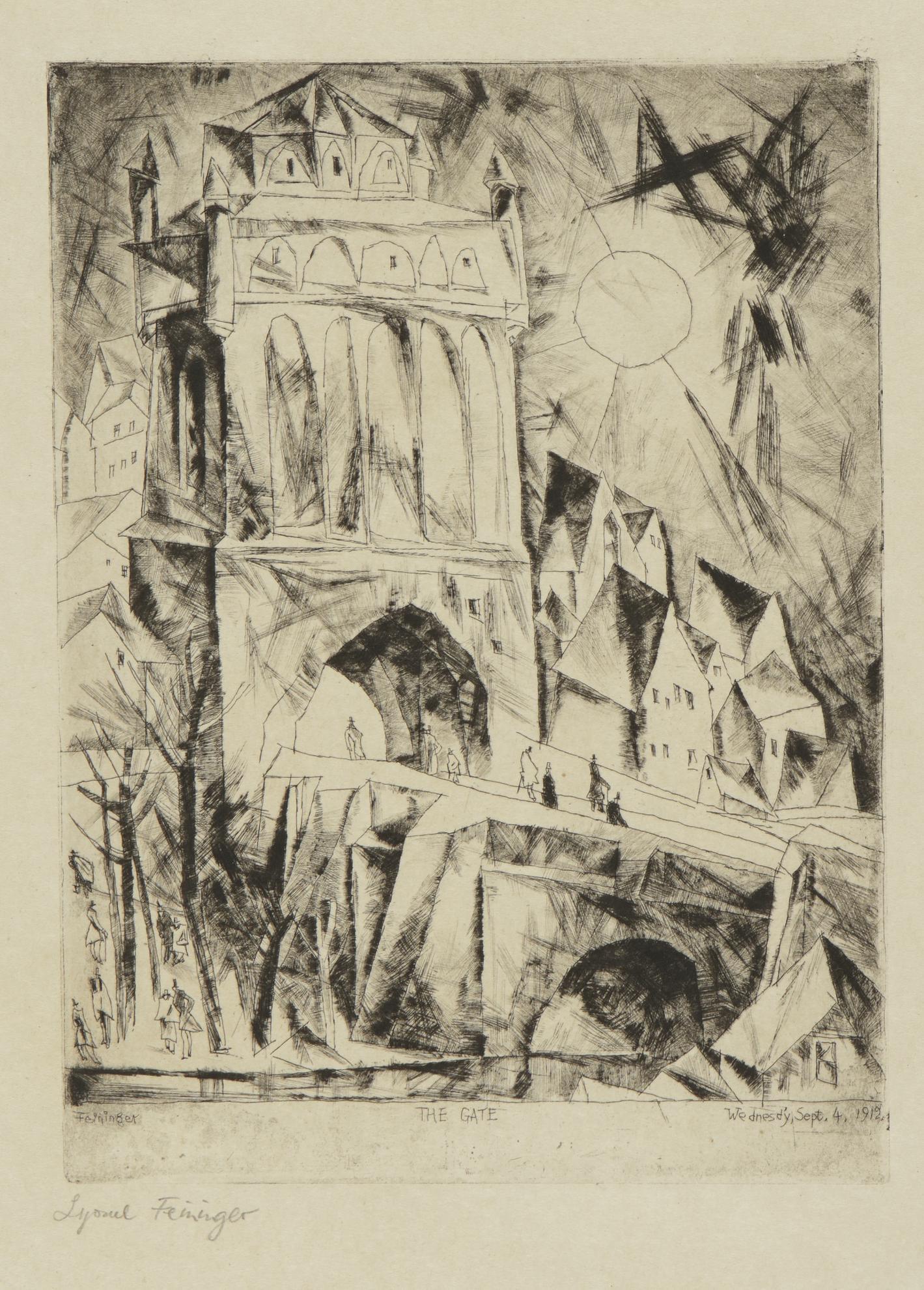 Lyonel Feininger-The Gate (Das Tor) (P. E 52)-1912