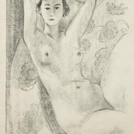 Henri Matisse-Nu Assis Dans Un Fauteuil Au Decor Fleuri (Duthuit 445)-1924
