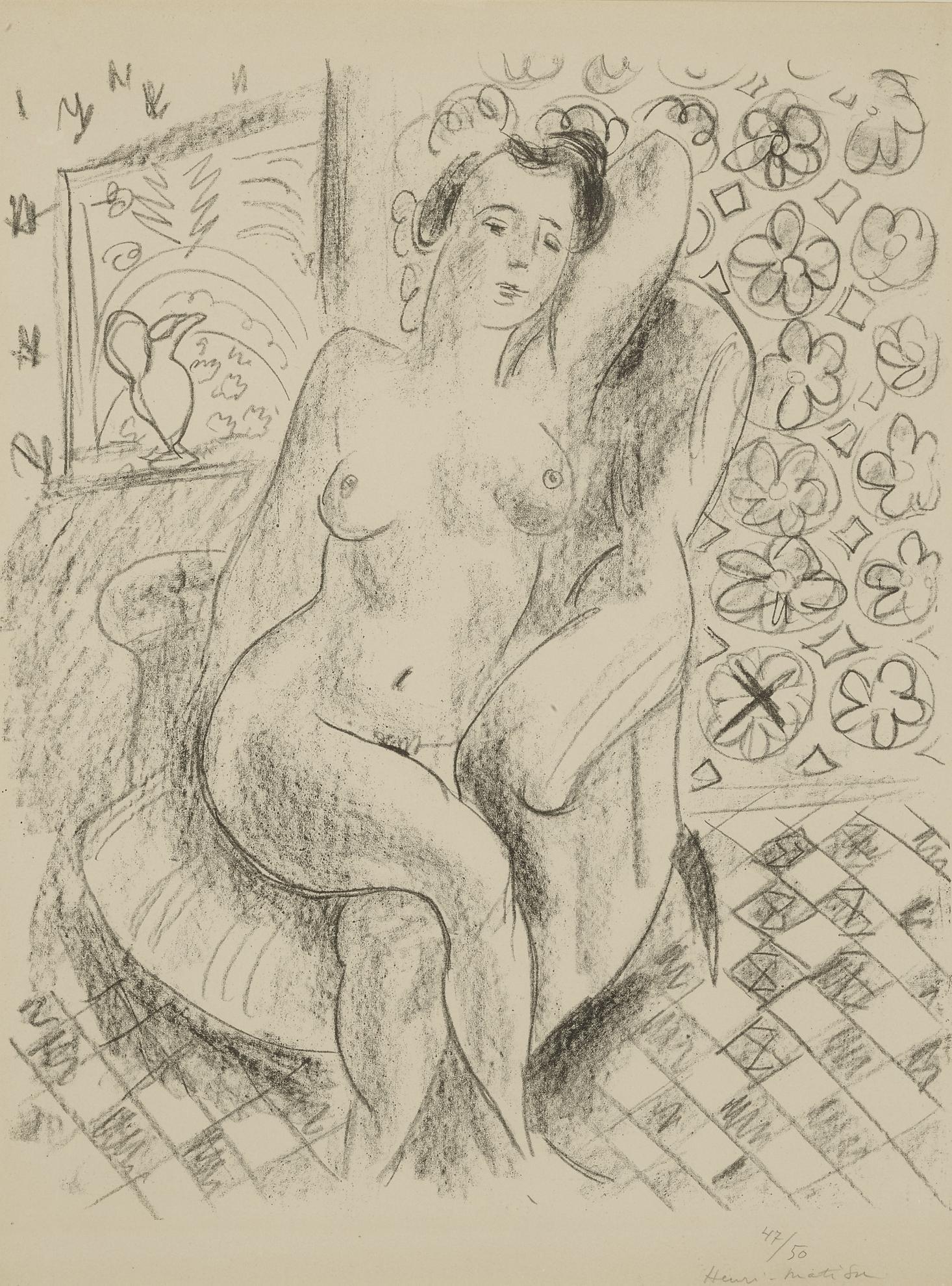 Henri Matisse-Nu Au Fauteuil Sur Fond Moucharabieh (D. 470)-1925