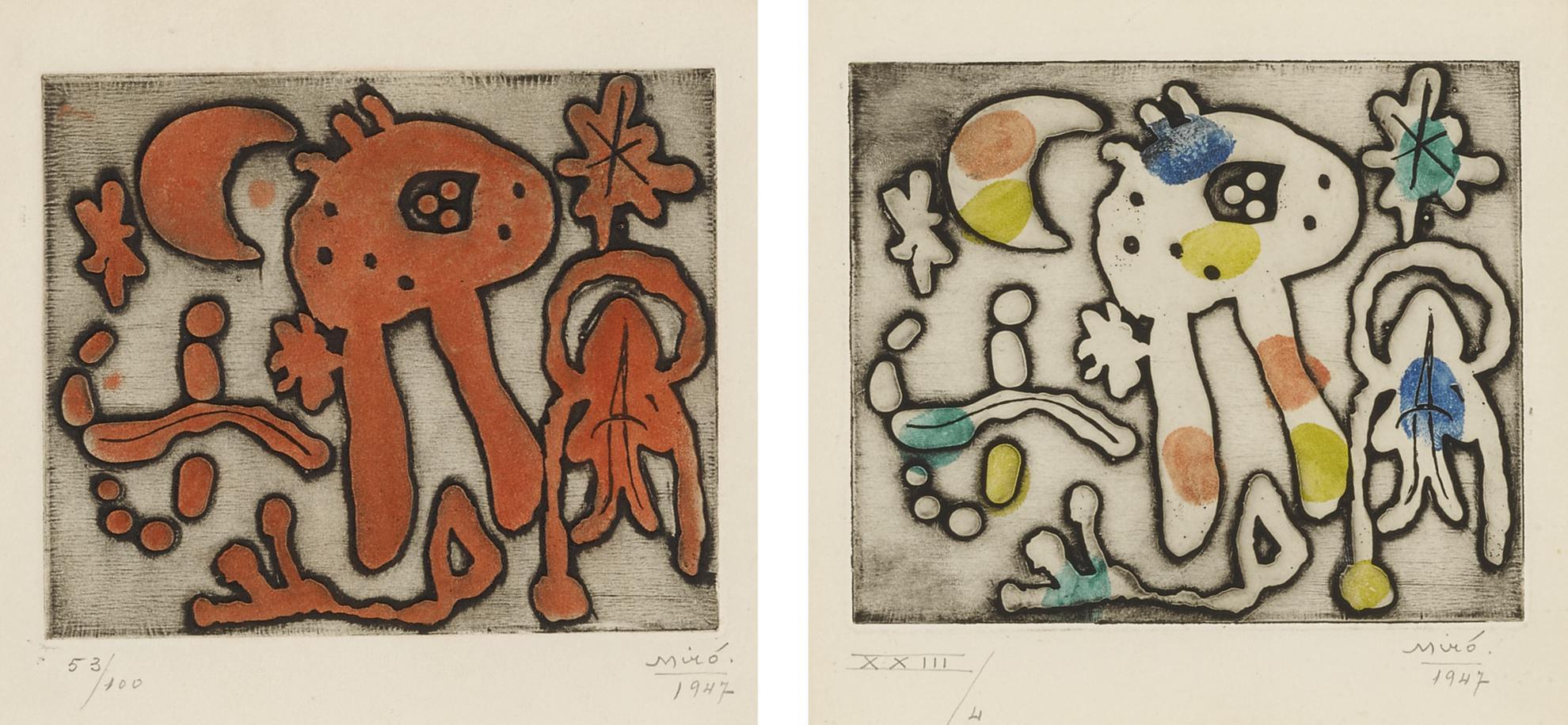 Joan Miro-Femmes Et Oiseau Devant La Nuit; And Femmes Et Oiseau Devant La Lune (D. 47 And 48)-1947
