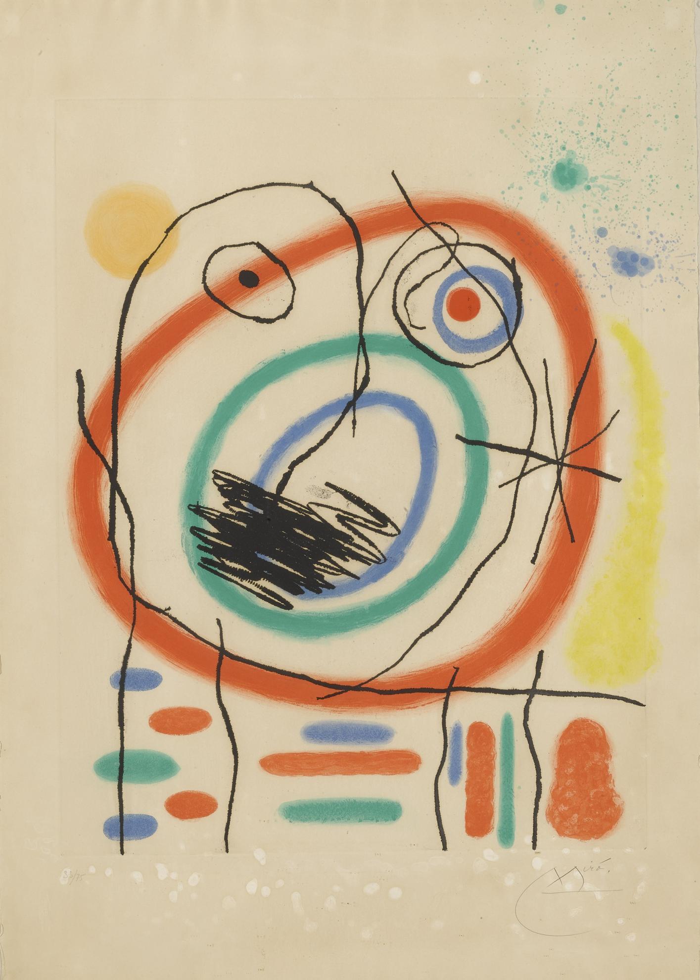 Joan Miro-Le Prophete Encercle And Serie Mallorca: Plate 29 (D. 396 & 638)-1973