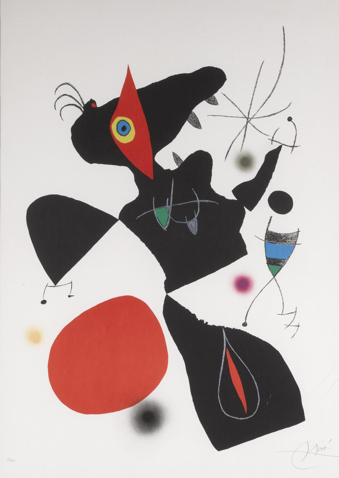 Joan Miro-Oda A Joan Miro: Plate IV (M. 906)-1973