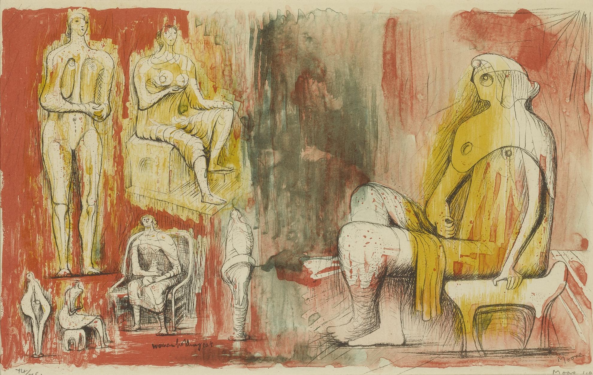 Henry Moore-Woman Holding Cat (Cramer 10)-1949
