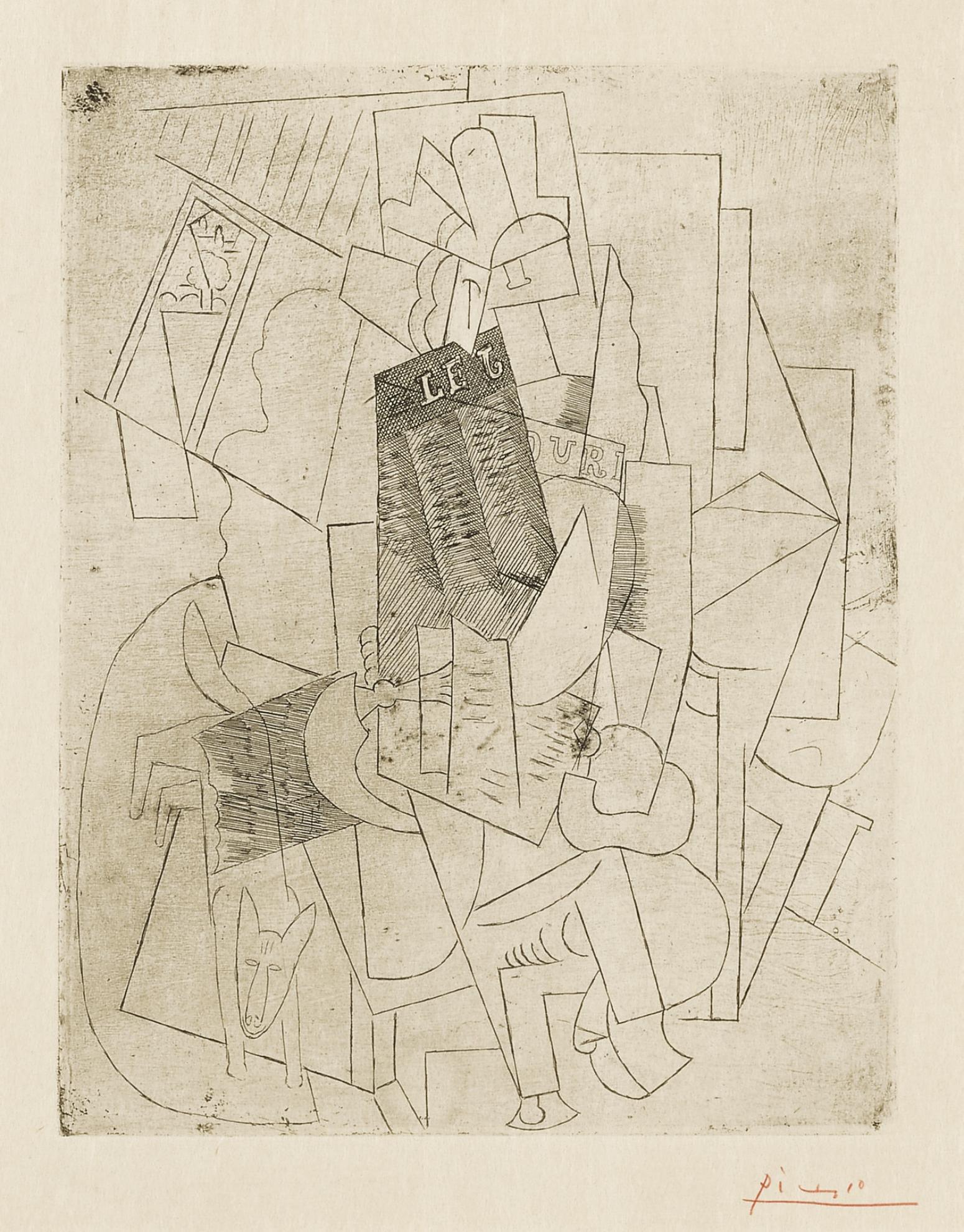 Pablo Picasso-Lhomme Au Chien (Rue Schoelcher) (B. 28; Ba. 39)-1915