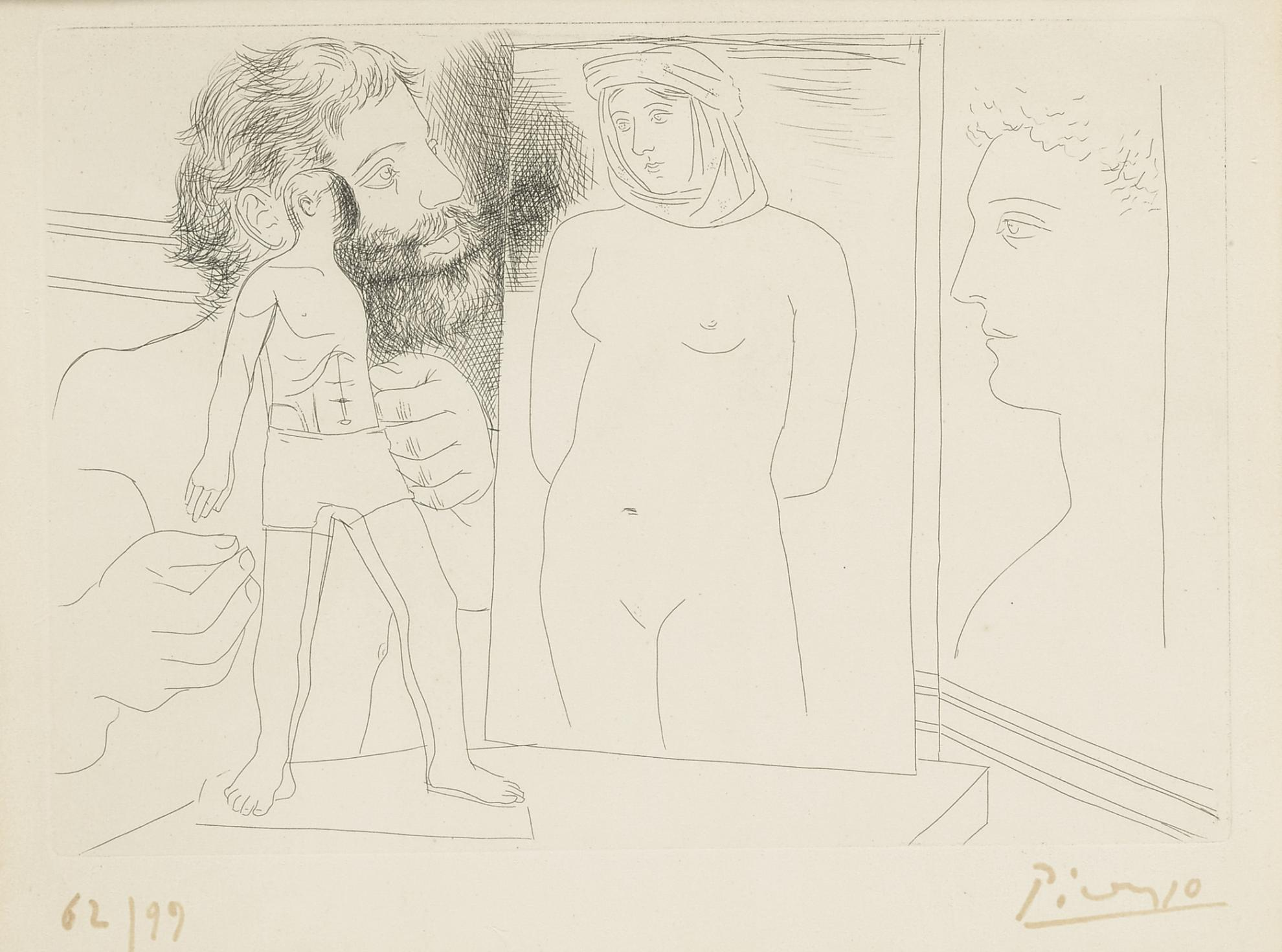 Pablo Picasso-Sculpteur Avec Sculpture Et Dautres Oeuvres (B. 86; Ba. 127)-1927