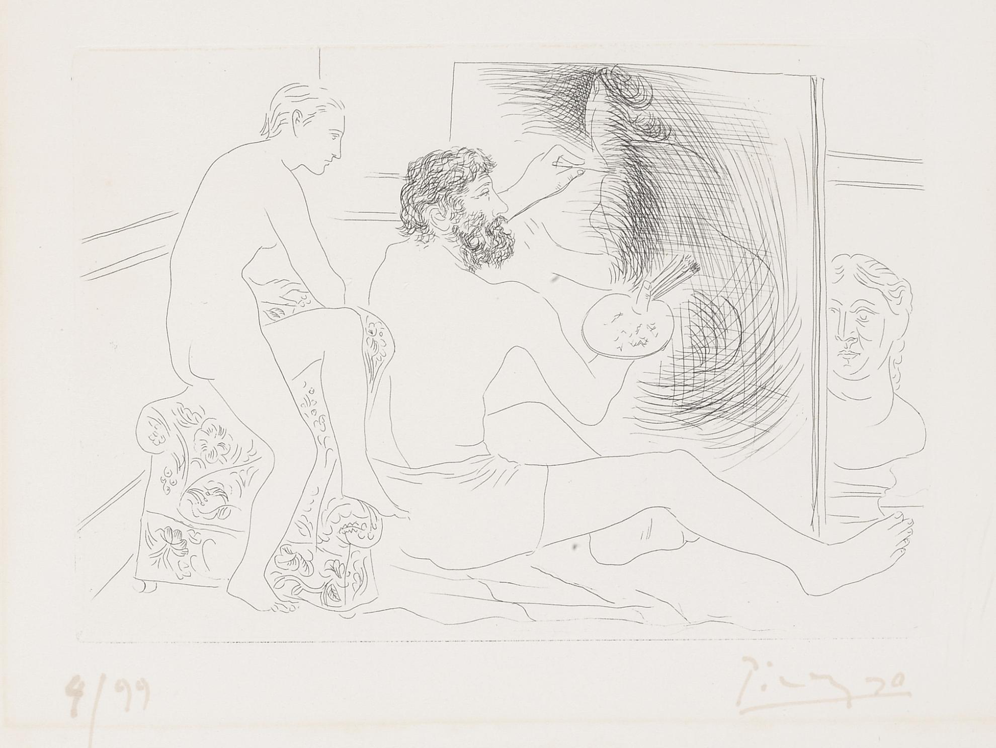 Pablo Picasso-Peintre Au Travail Observe Par Un Modele Nu (B. 89; Ba.130)-1927