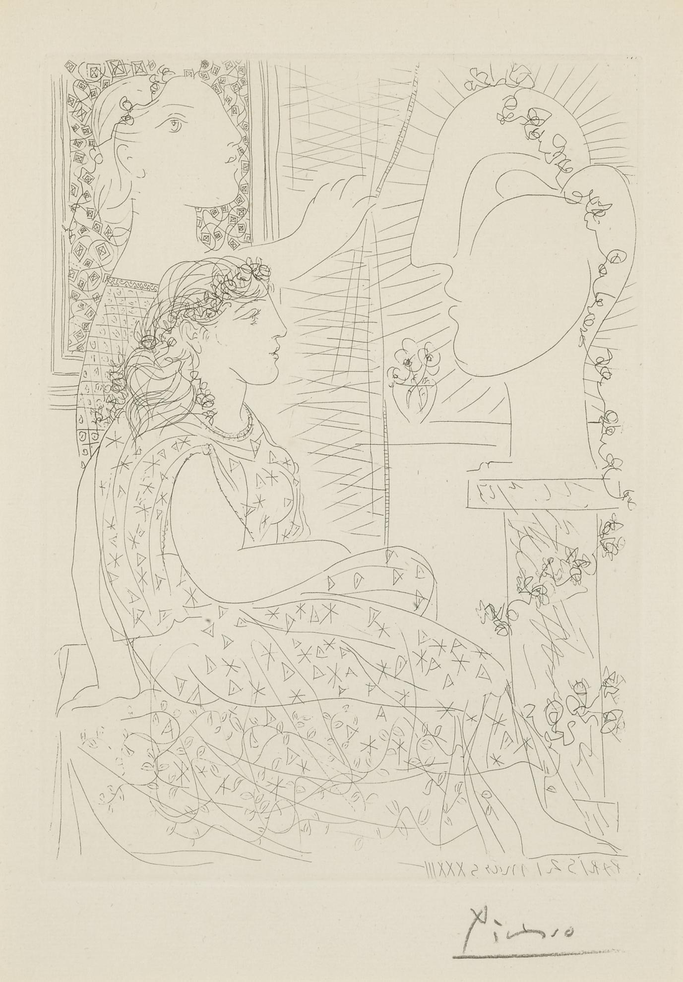 Pablo Picasso-Deux Femmes Regardant Une Tete Sculptee (B. 150; Ba. 302)-1933